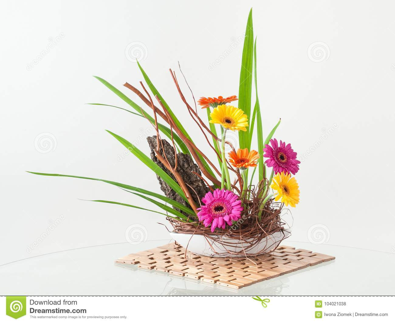 Ikebana Style Flower Arrangement Stock Photo Image Of Composition