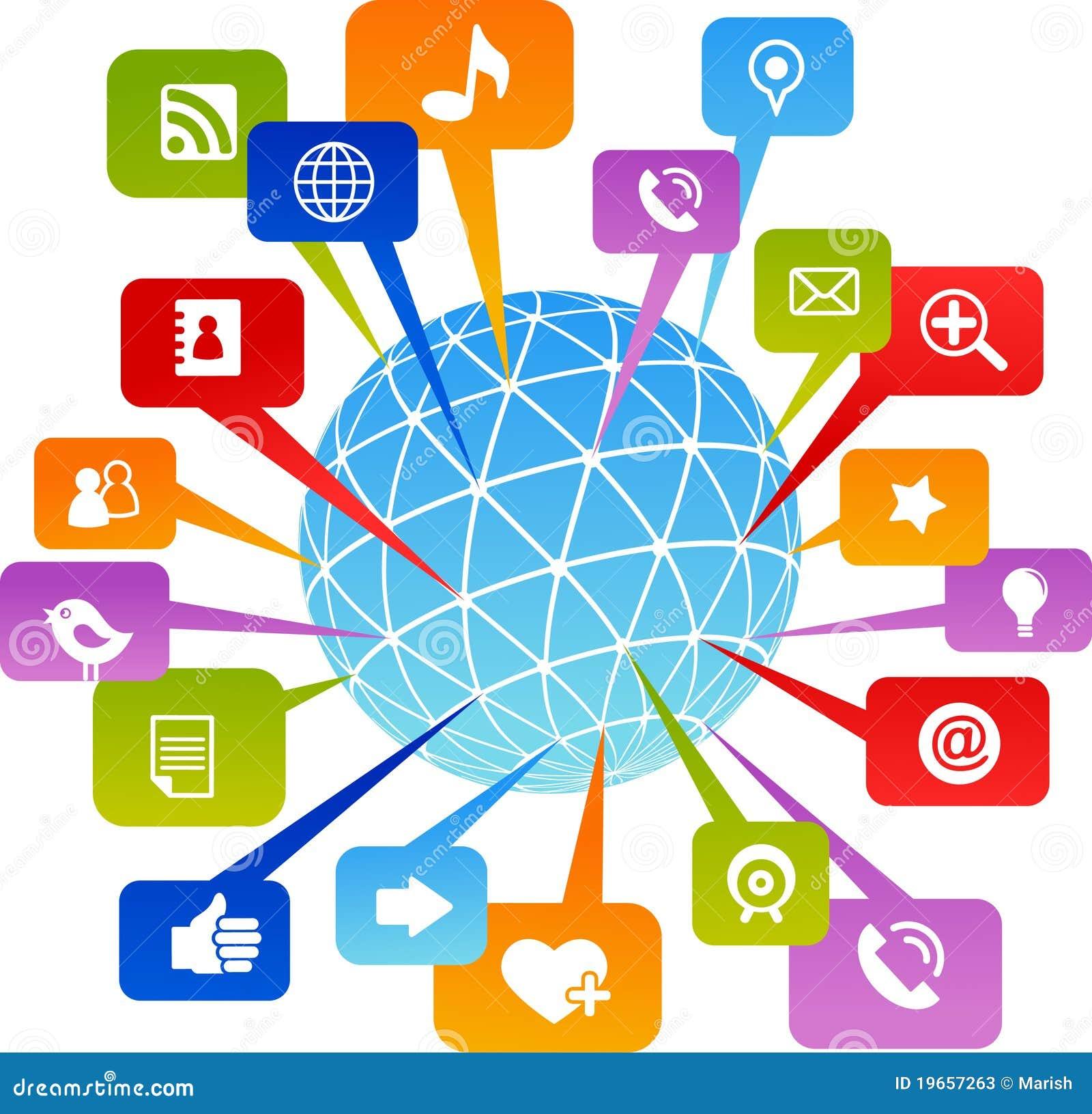 Ikon medialny sieci socjalny świat