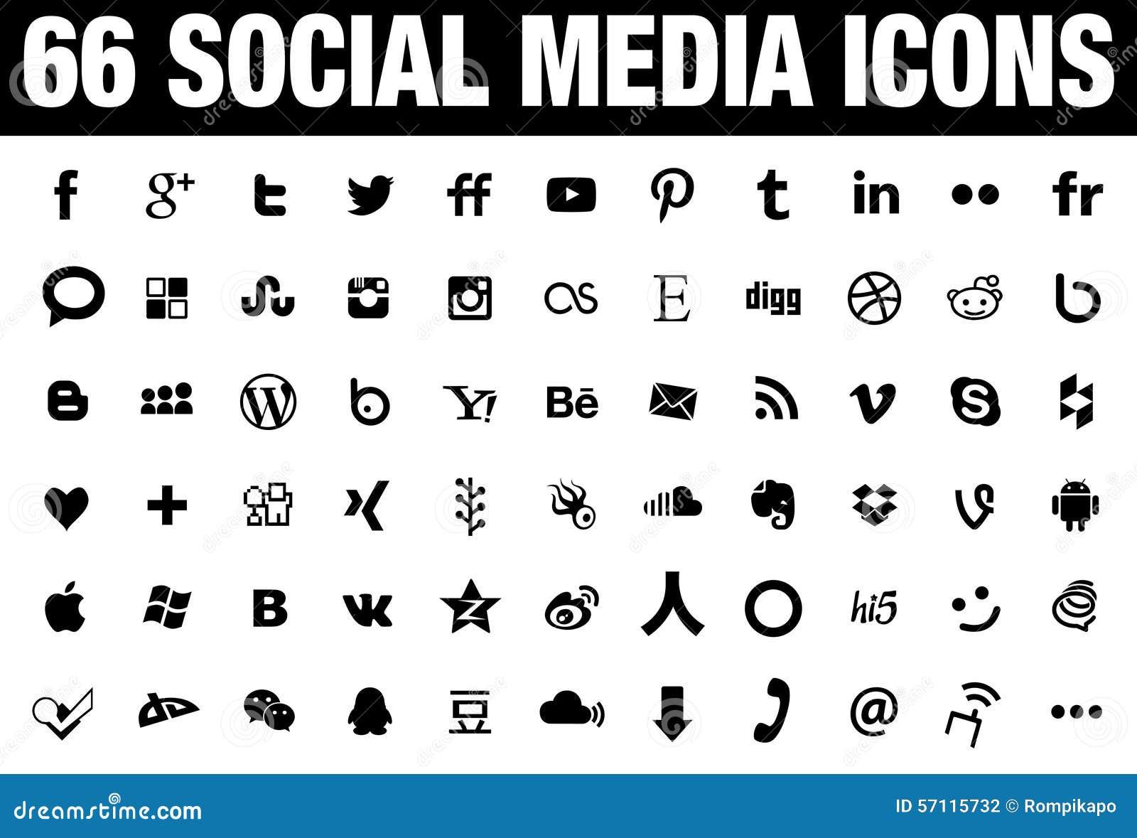 66 ikon Ogólnospołeczny Medialny czerń