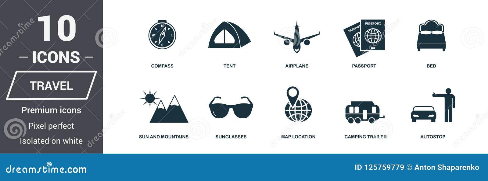 Ikona określonych podróży Premii ilości symbolu kolekcja Miesiąc miodowy ikony ustaleni prości elementy Przygotowywa używać w sie