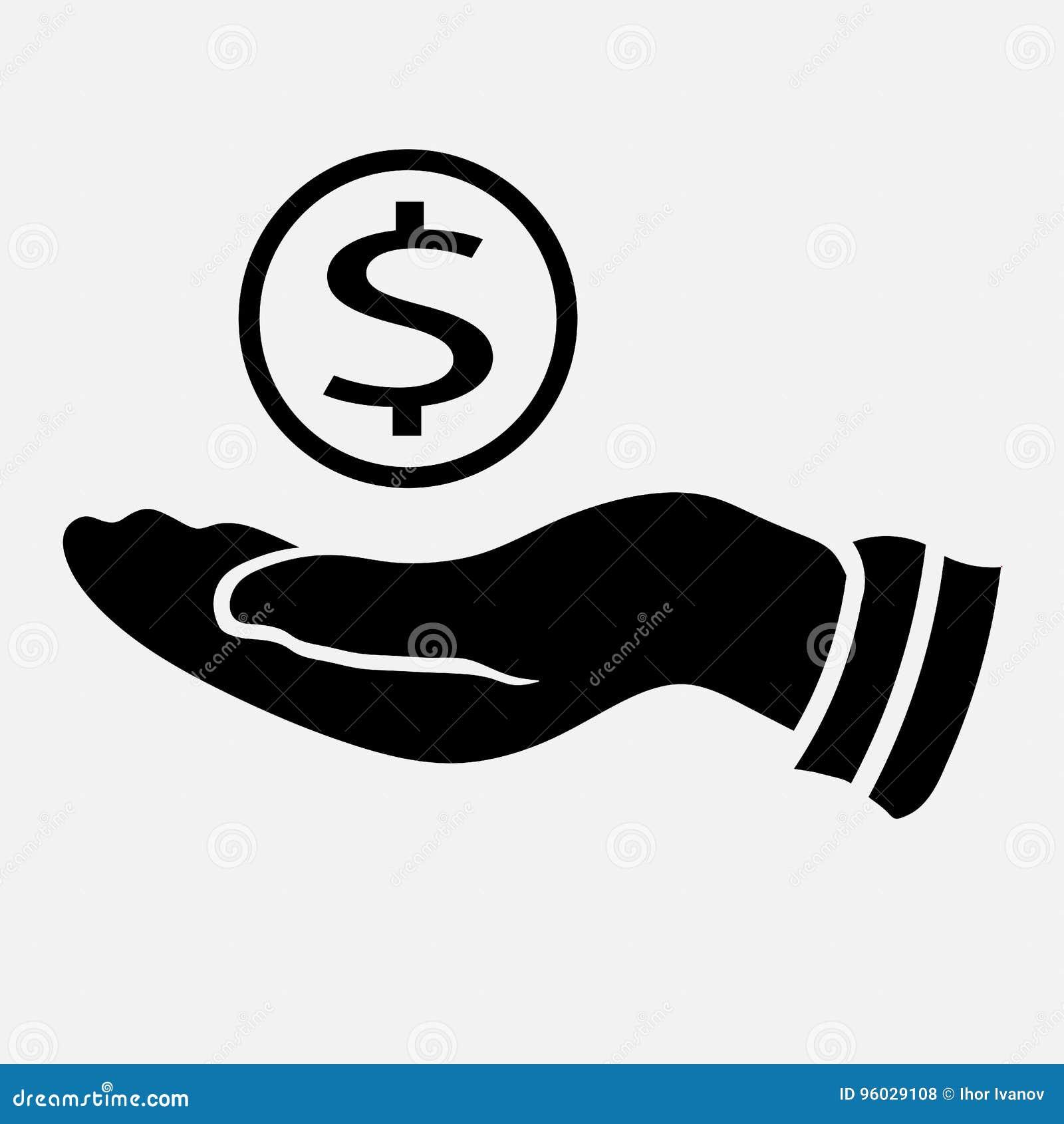 Ikona pieniądze w ręce, ikona bierze pieniądze