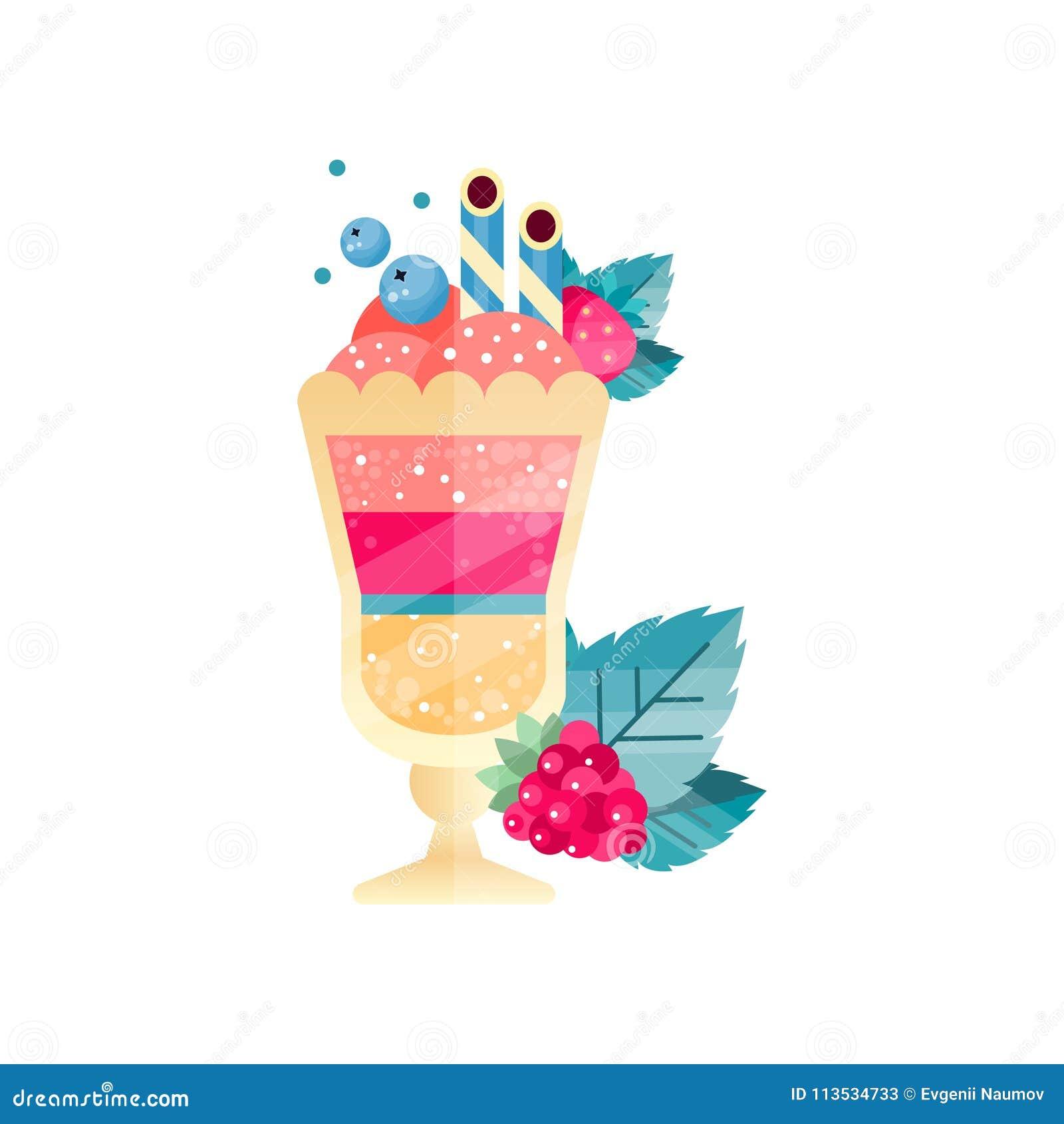 Ikona smakowity ablegrujący deser z lody jagody i pić słoma, Płaski wektorowy projekt z gradientami i