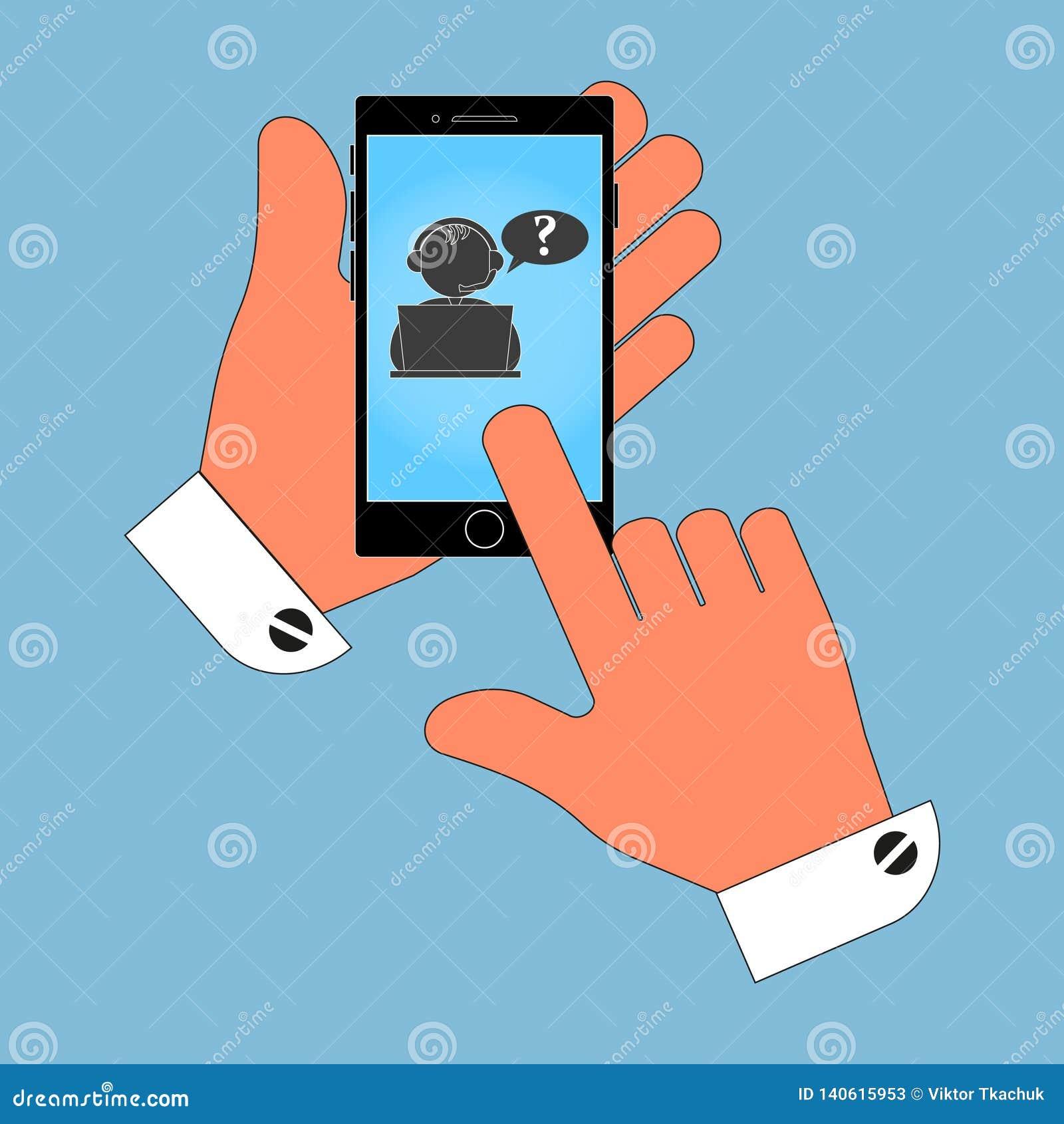 Ikona telefon w jego ręce na operatora ekranie źródło, odosobnienie na błękitnym tle