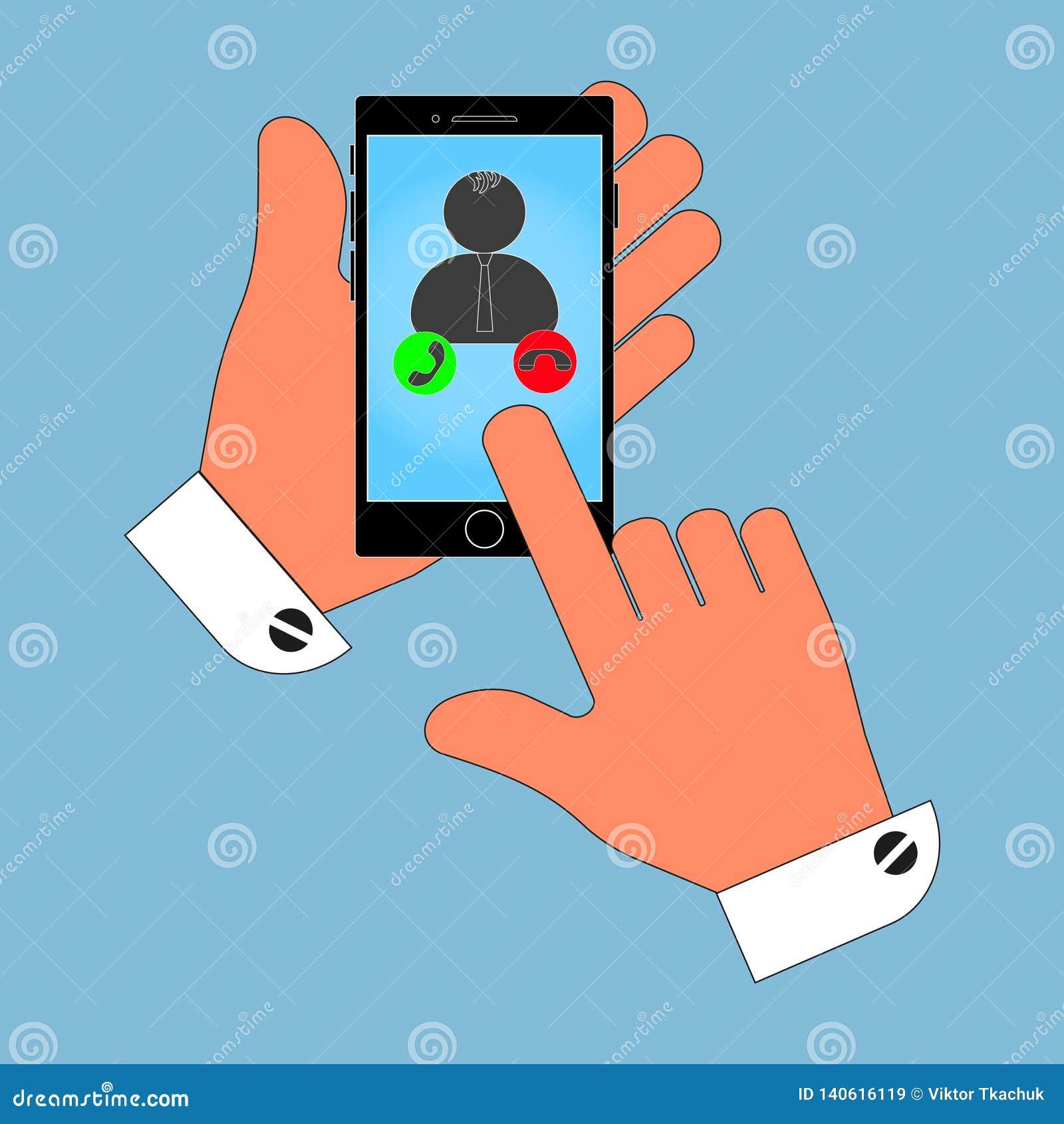 Ikona telefon w jego ręce na operatora ekranie źródło, odosobnienie na błękitnym tle Elegancka wektorowa ilustracja