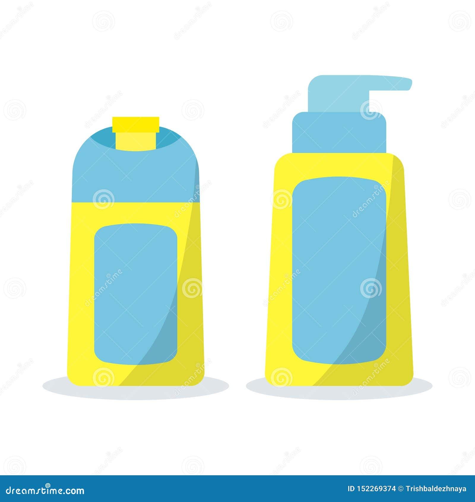 Ikona ustawiająca kąpielowe kosmetyczne butelki w płaskim kreskówka stylu