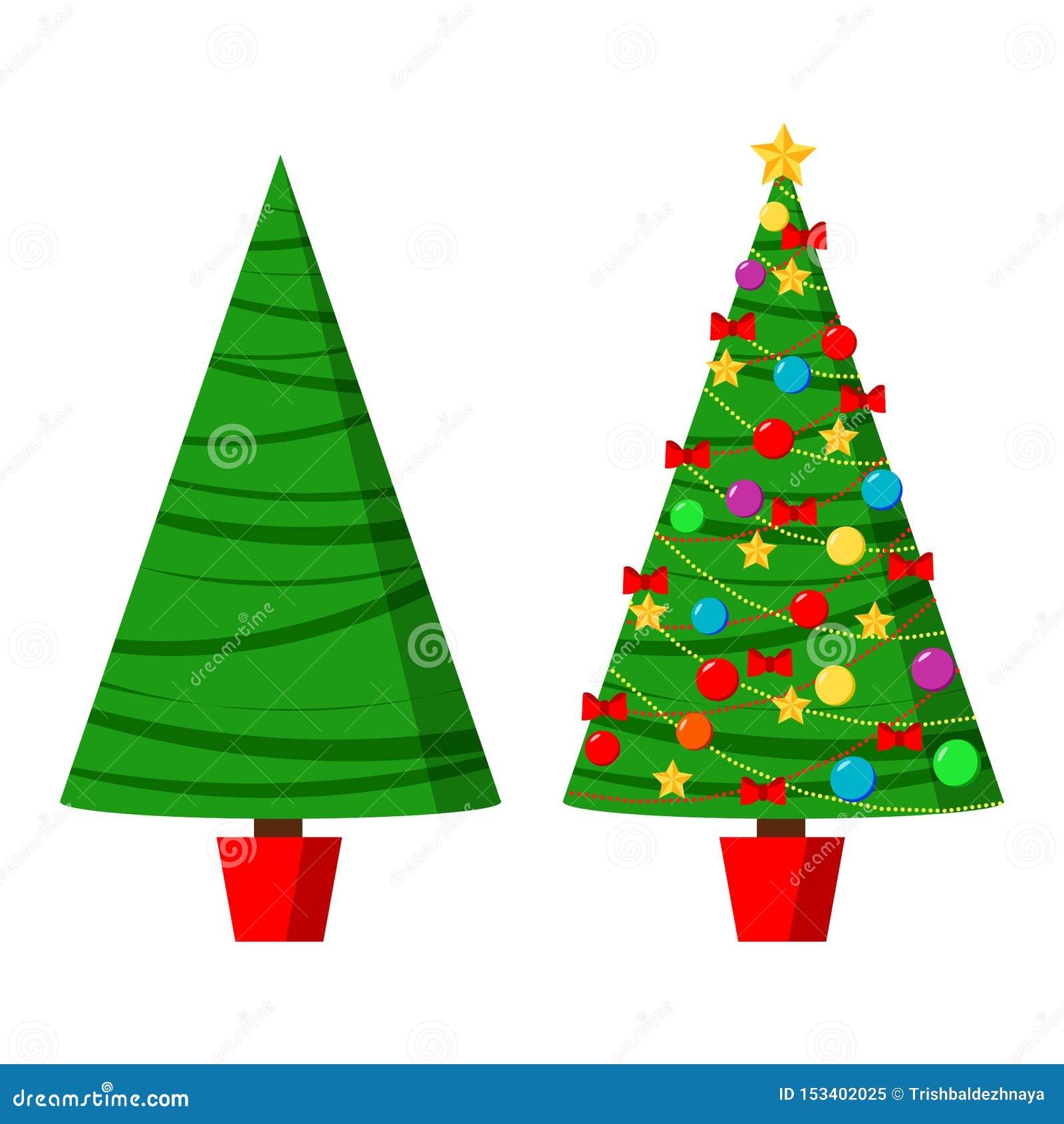Ikona ustawiająca z zielonym spruse i dekorującą choinką w garnku z gwiazdą, dekoracji piłkami i łękami,