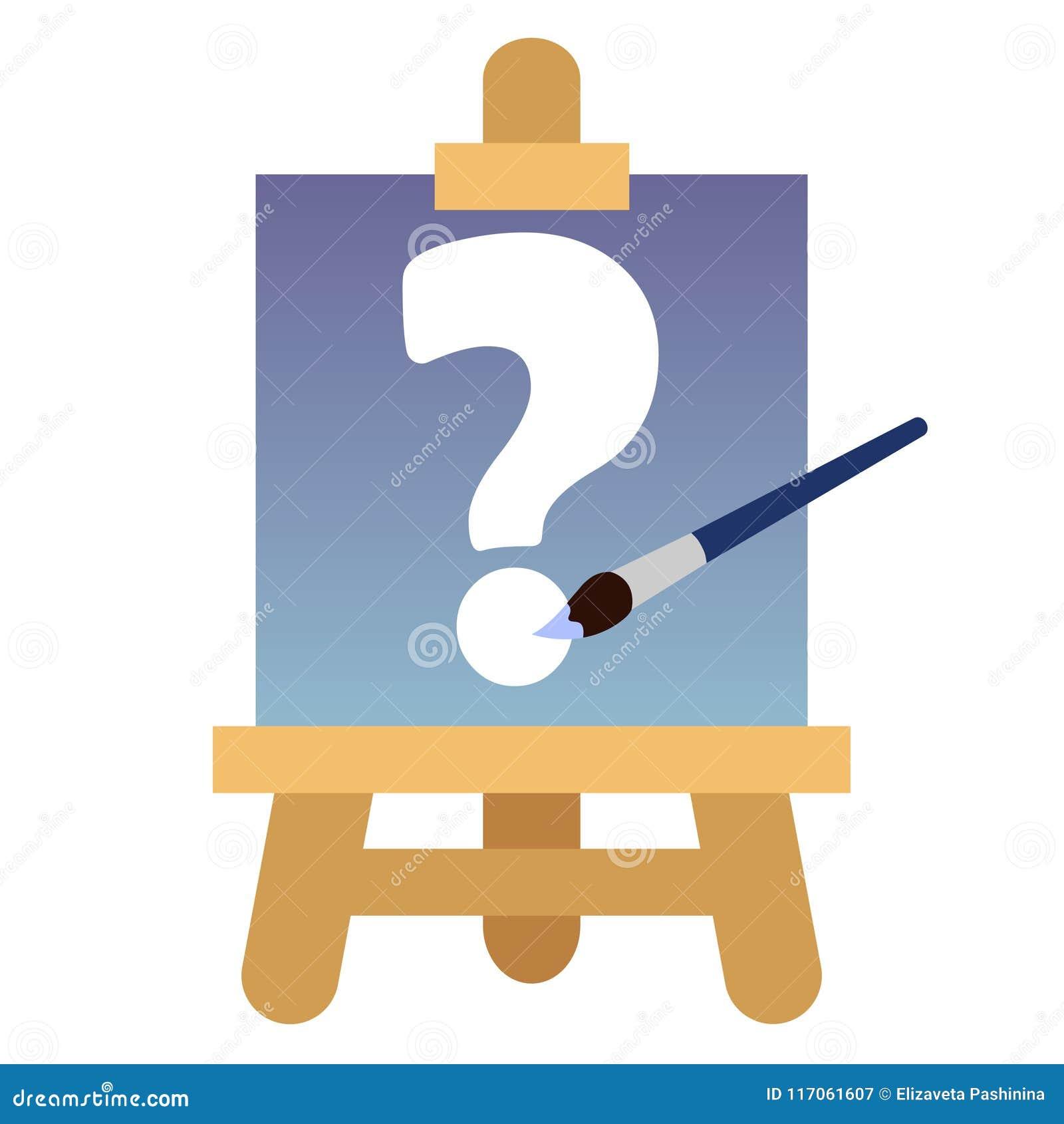 Ikona z drewnianą sztalugą, brezentowy biały znak zapytania i błękit, szczotkujemy