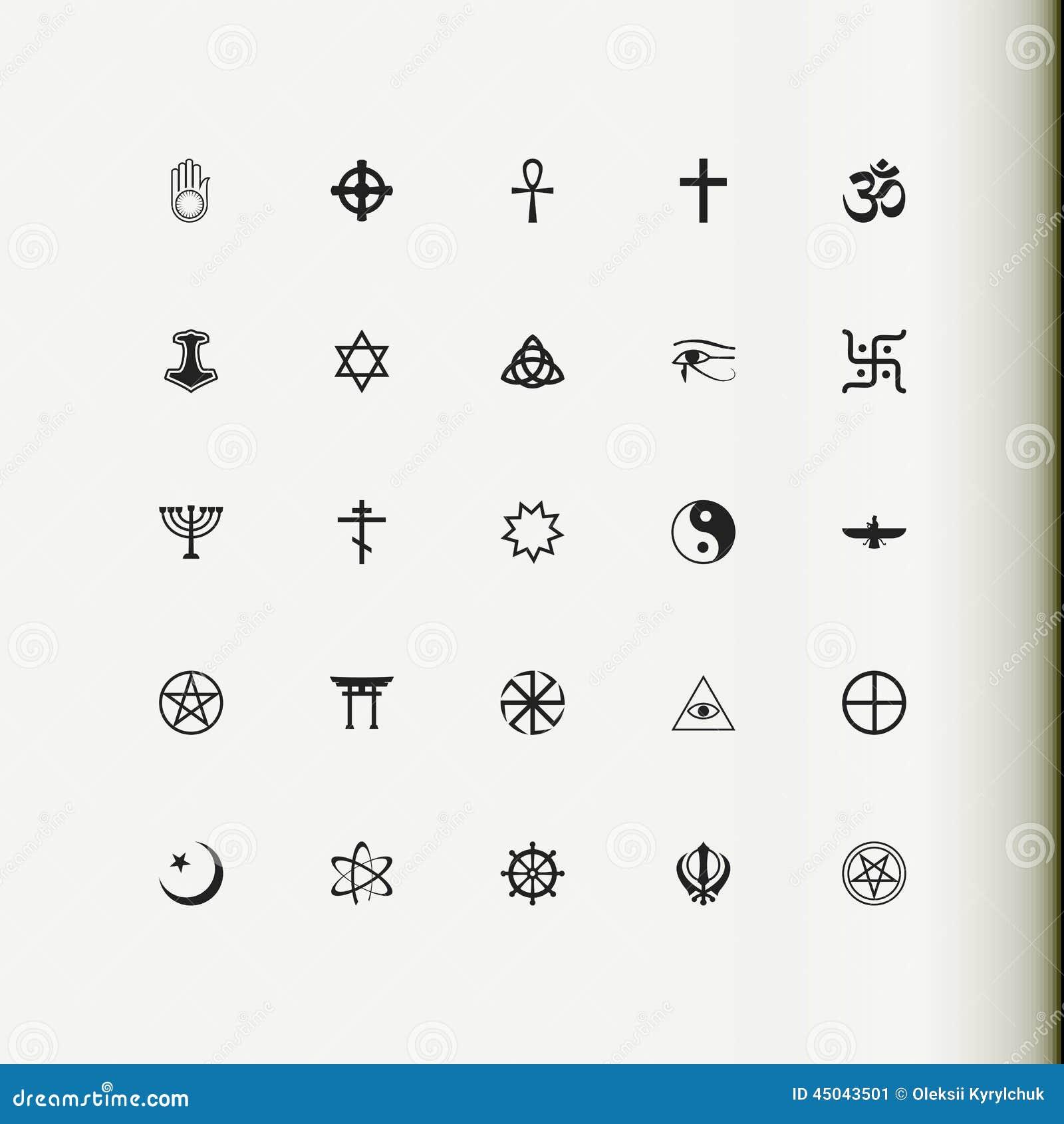 Ikona zestaw wektora Religia, duchowość, okultyzm