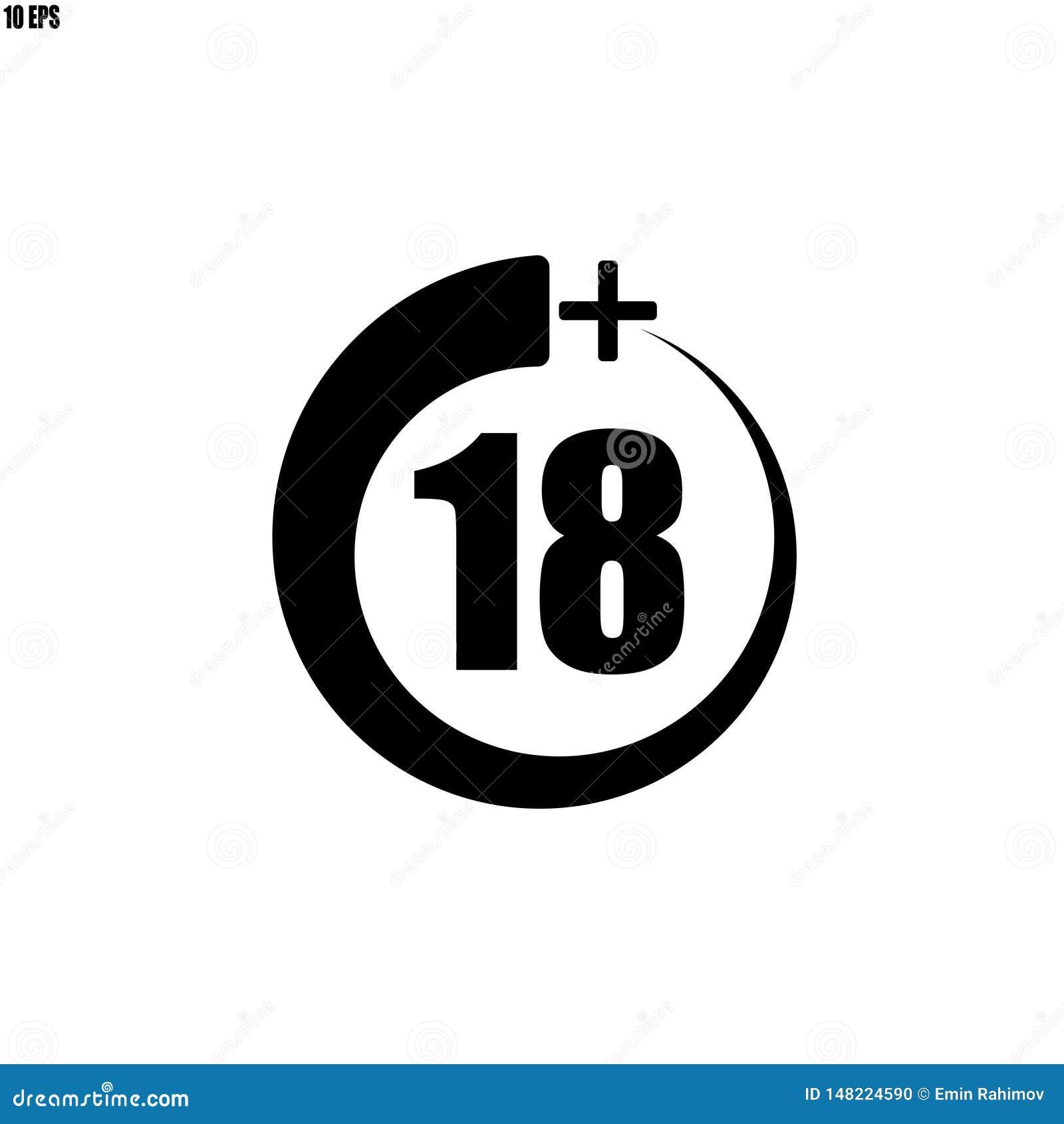 18+ ikona, znak Ewidencyjna ikona dla limita wieku - wektorowa ilustracja