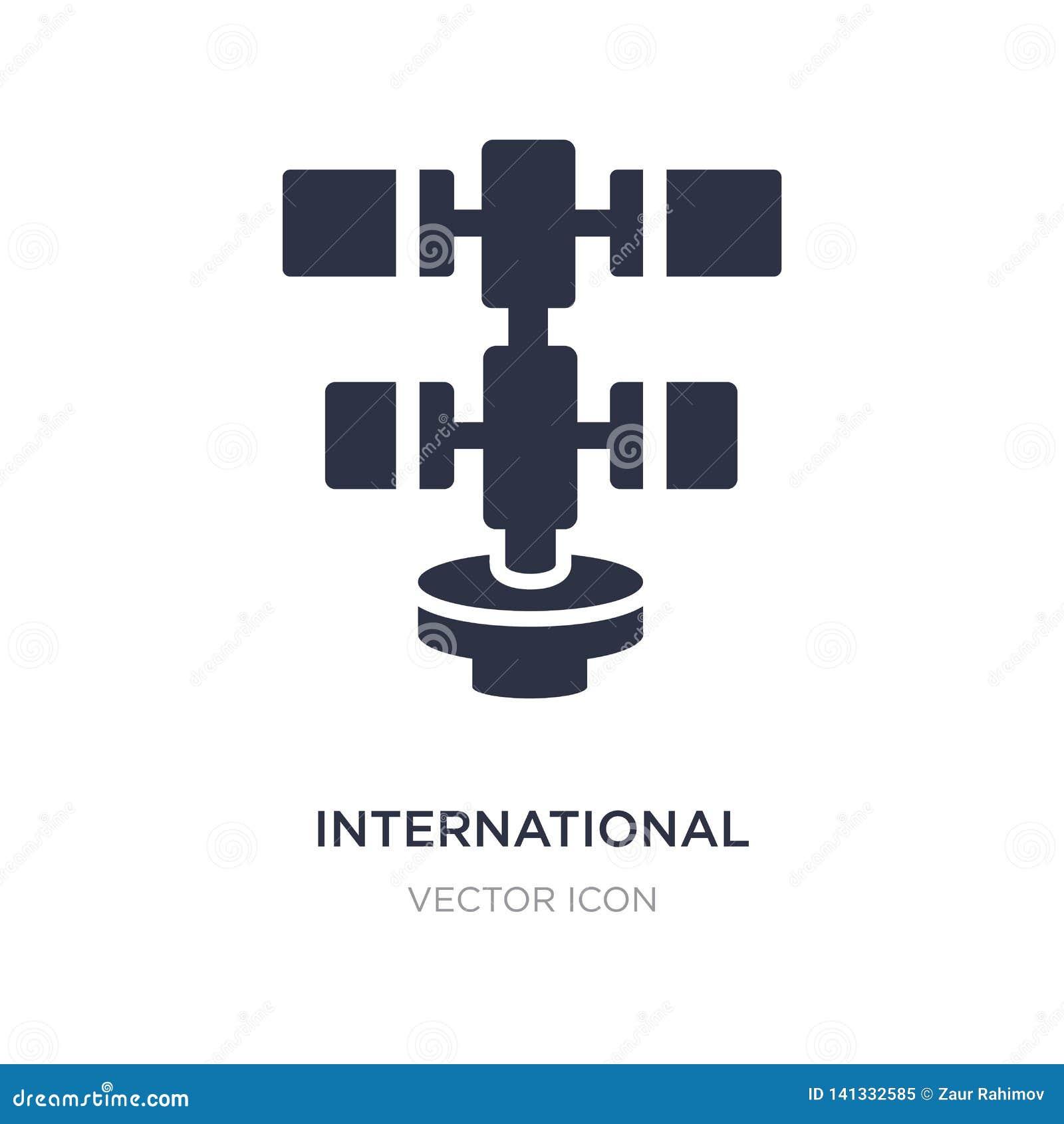 Ikone der internationalen Weltraumstation auf weißem Hintergrund Einfache Elementillustration vom Astronomiekonzept