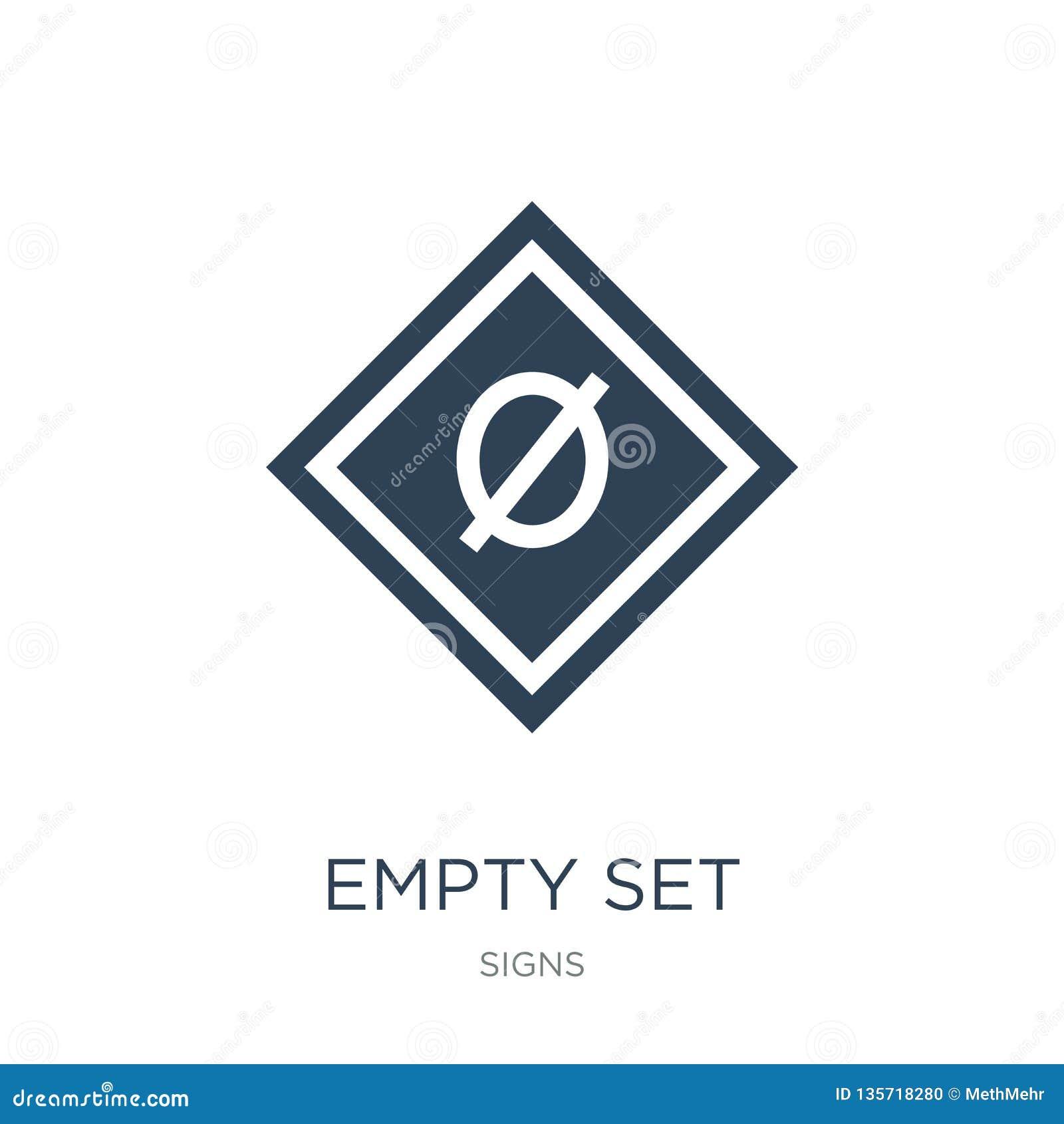 Ikone der leeren Menge in der modischen Entwurfsart Ikone der leeren Menge lokalisiert auf weißem Hintergrund der Vektor-Ikone de