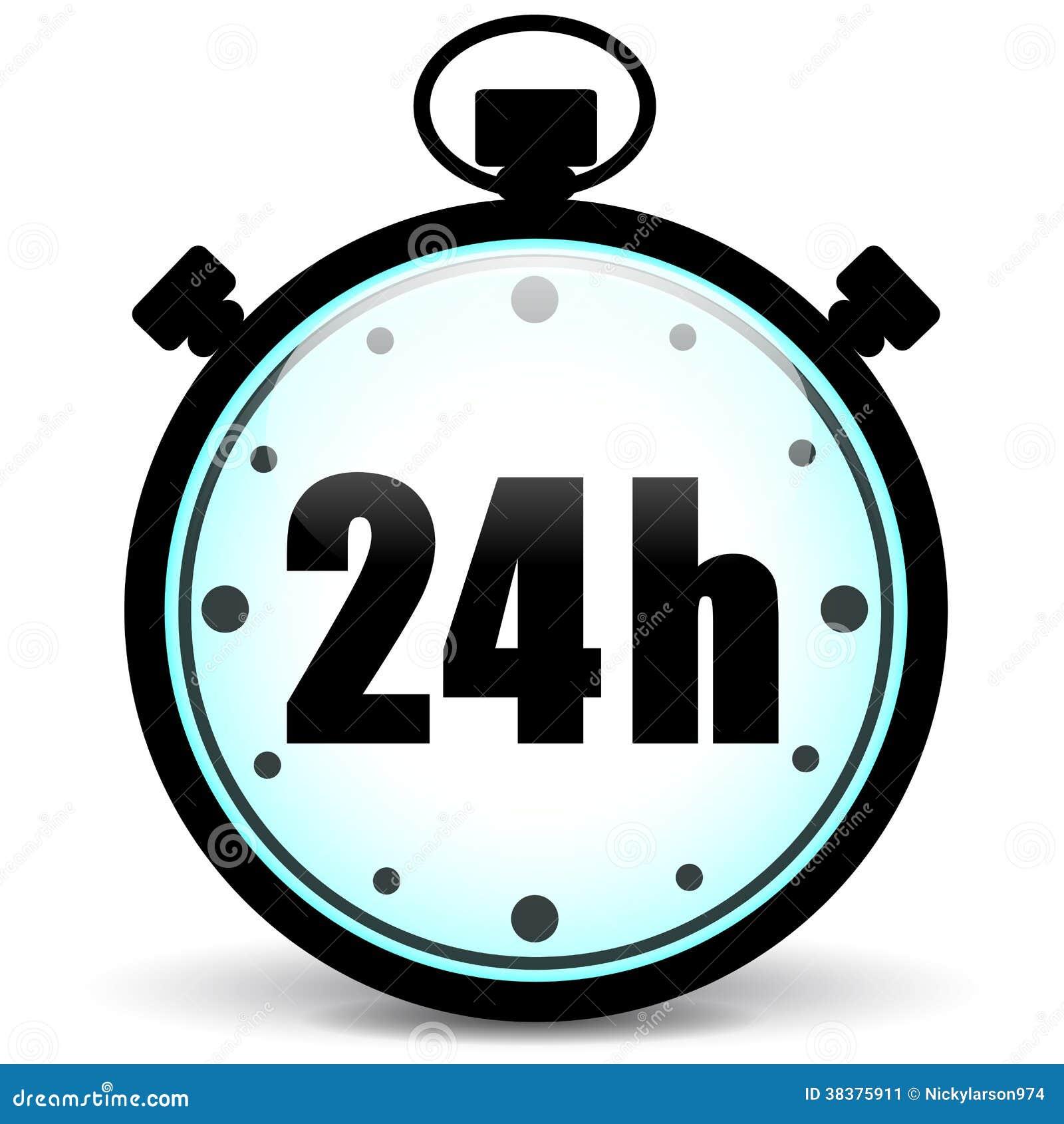 ikone der stoppuhr 24h vektor abbildung illustration von borduhr 38375911. Black Bedroom Furniture Sets. Home Design Ideas