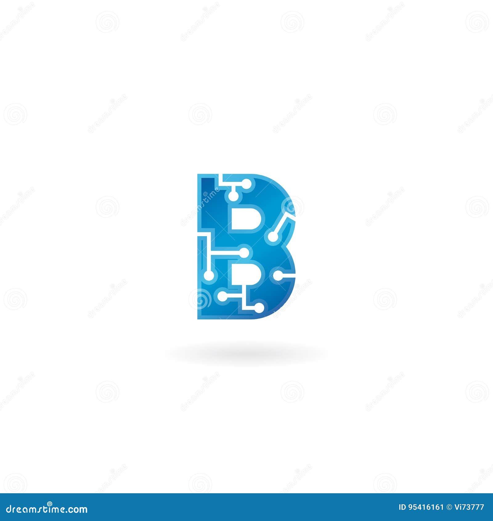 Ikone des Buchstabe-B Intelligentes Logo, Computer und Daten der Technologie bezogen sich das Geschäft, High-Tech und innovativ,