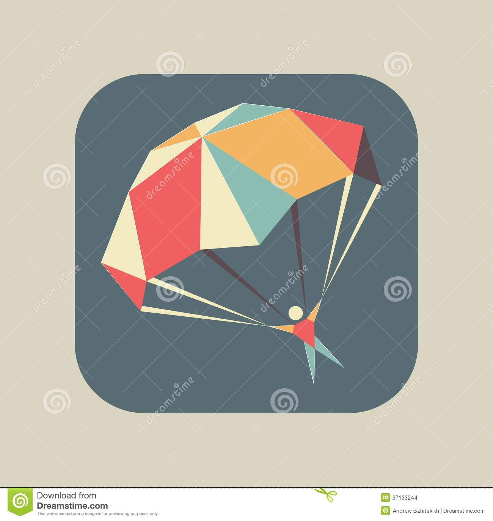 Ikone mit einem Fliegen Skydiver und einem offenen Fallschirm