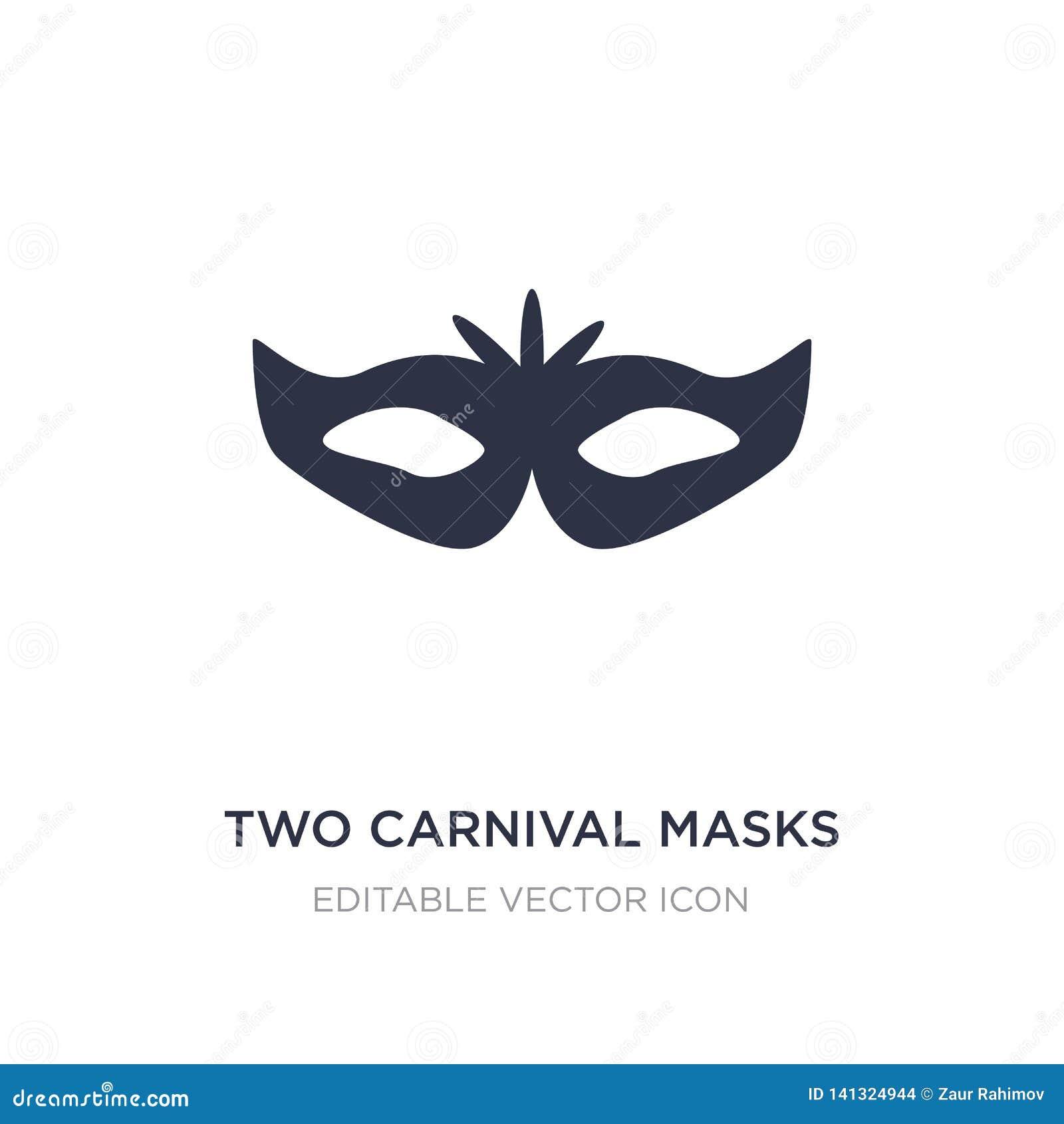 Ikone mit zwei Karnevalsmasken auf weißem Hintergrund Einfache Elementillustration vom Modekonzept