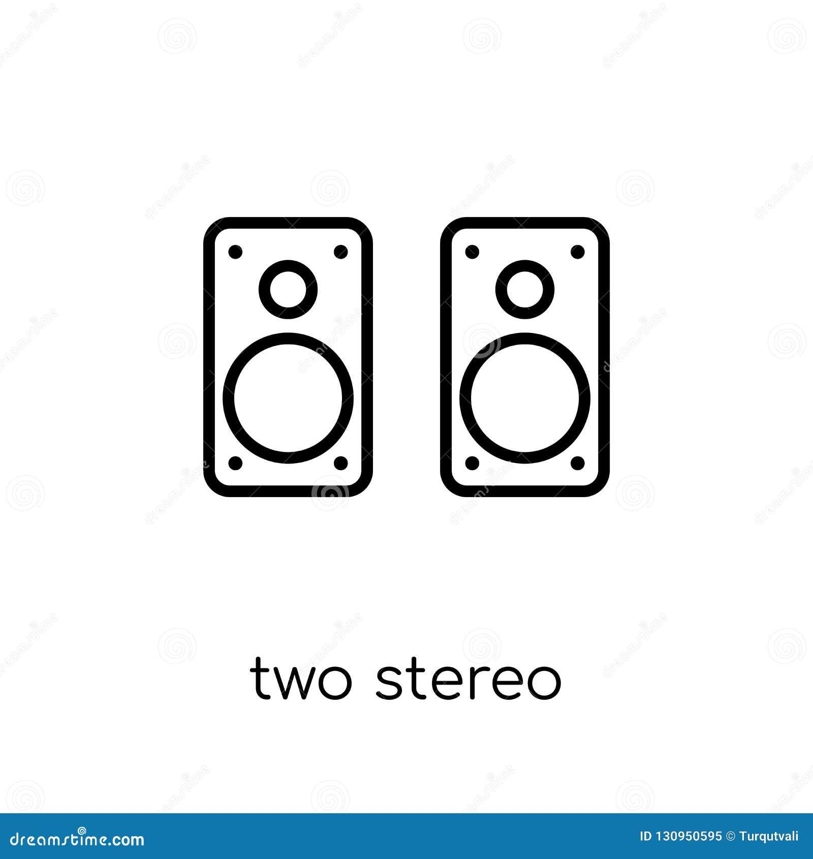 Ikone mit zwei Stereosprechern Modischer moderner flacher linearer Vektor zwei S