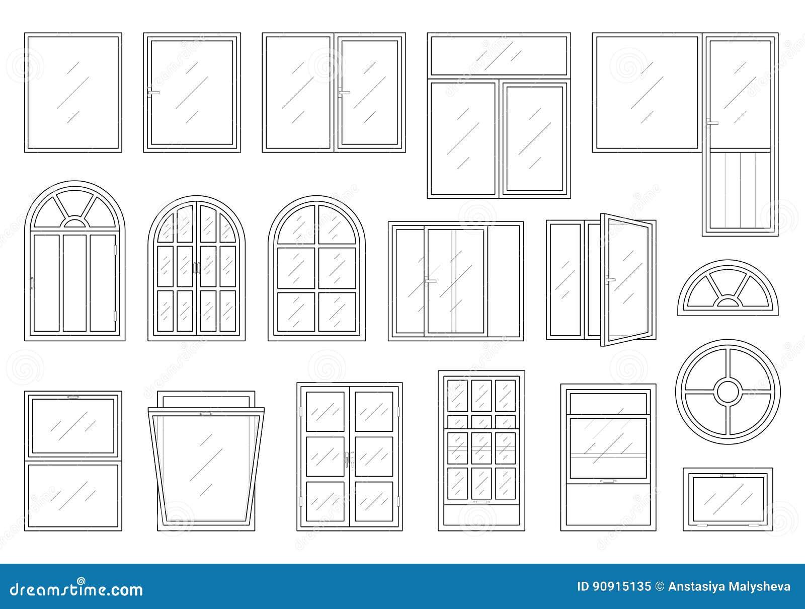 Ikonen Eingestellt Von Den Fensterarten Vektor Abbildung
