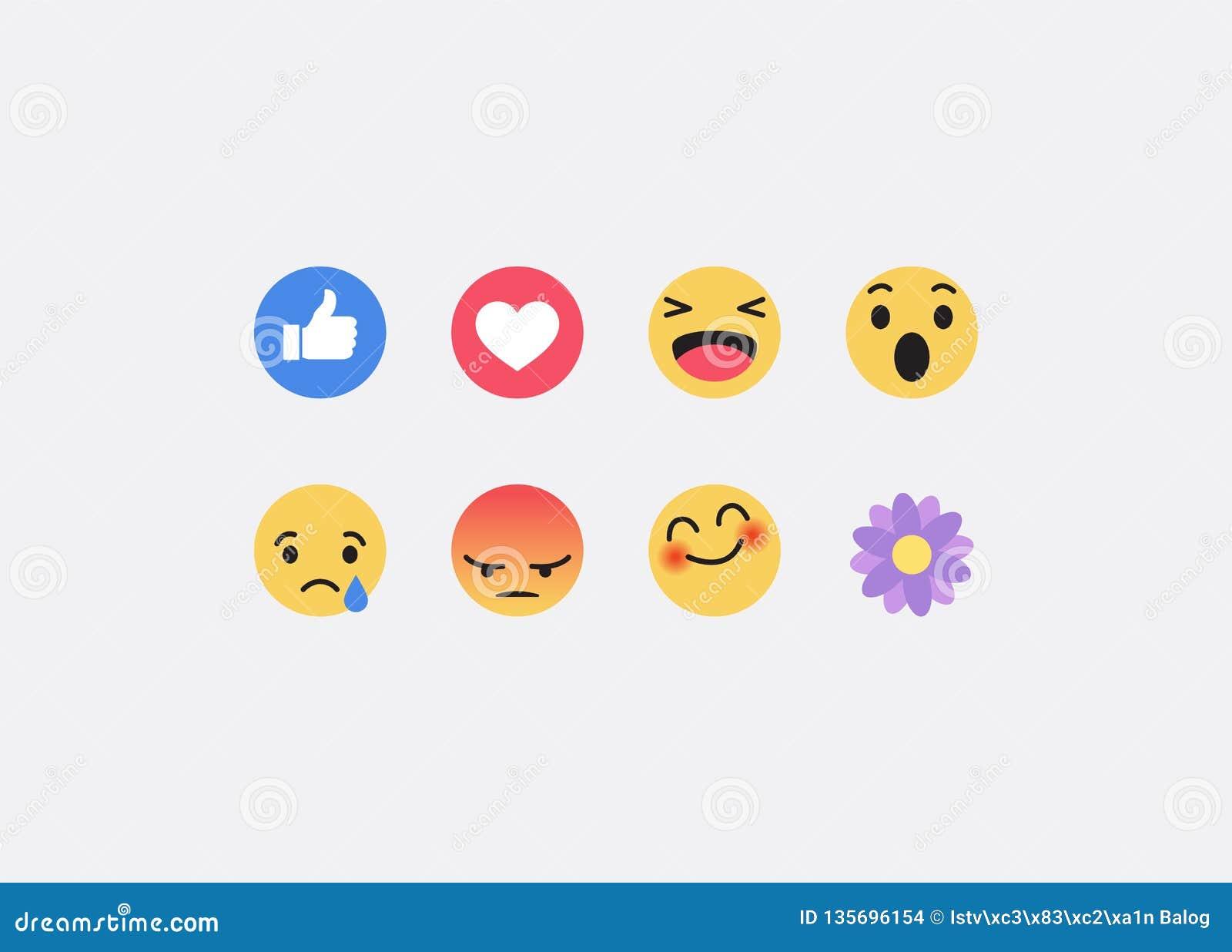 Ikonen Facebooks Emoji Vektorsocial media-Hintergrund Auch im corel abgehobenen Betrag