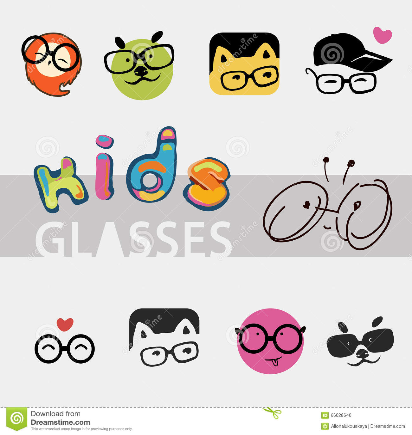 Ikonen Logos Für Die Firma Der Gläser Der Kinder Verschiedene