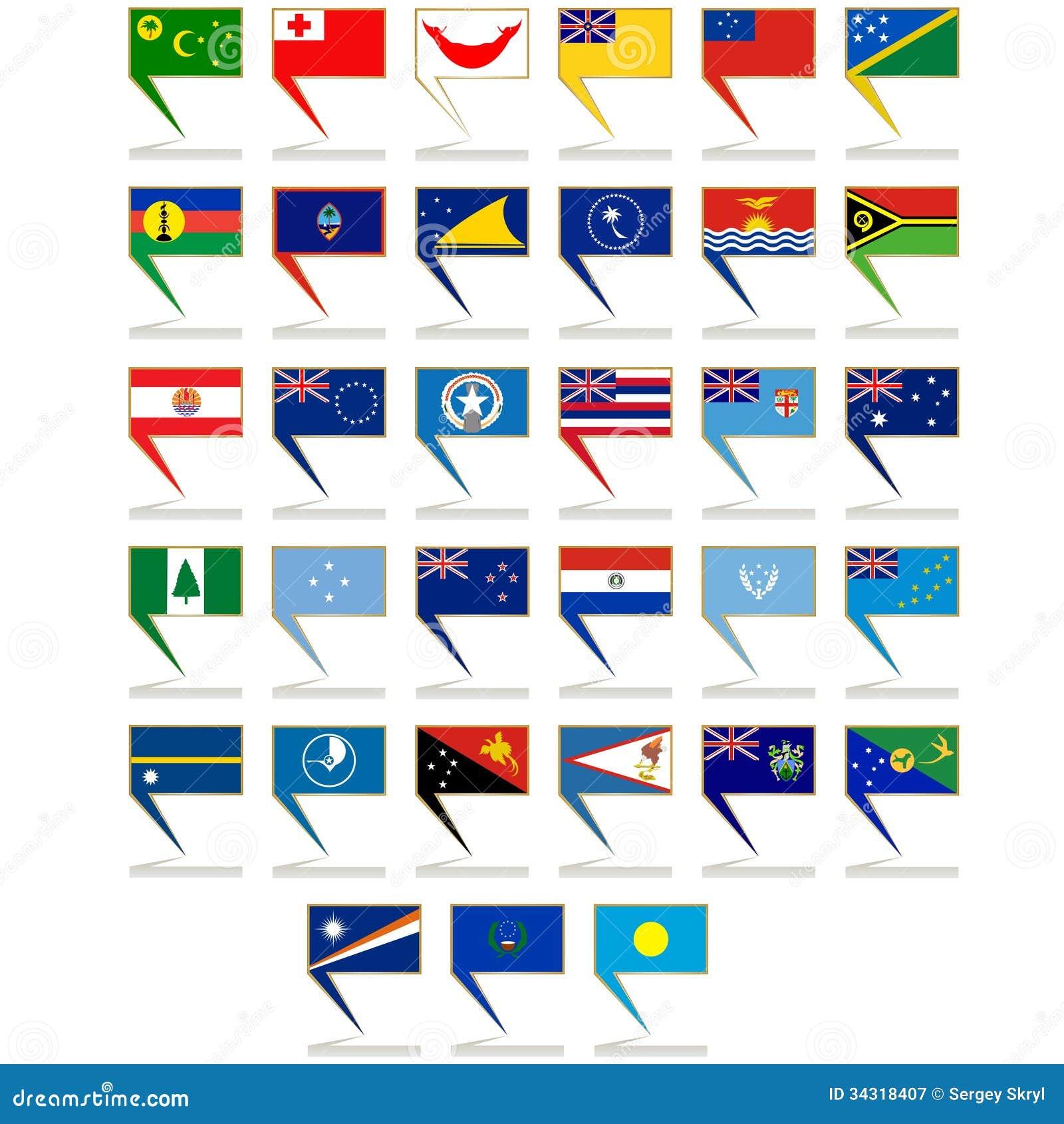 Ikonen Mit Den Flaggen Von Australien Und Von Ozeanien