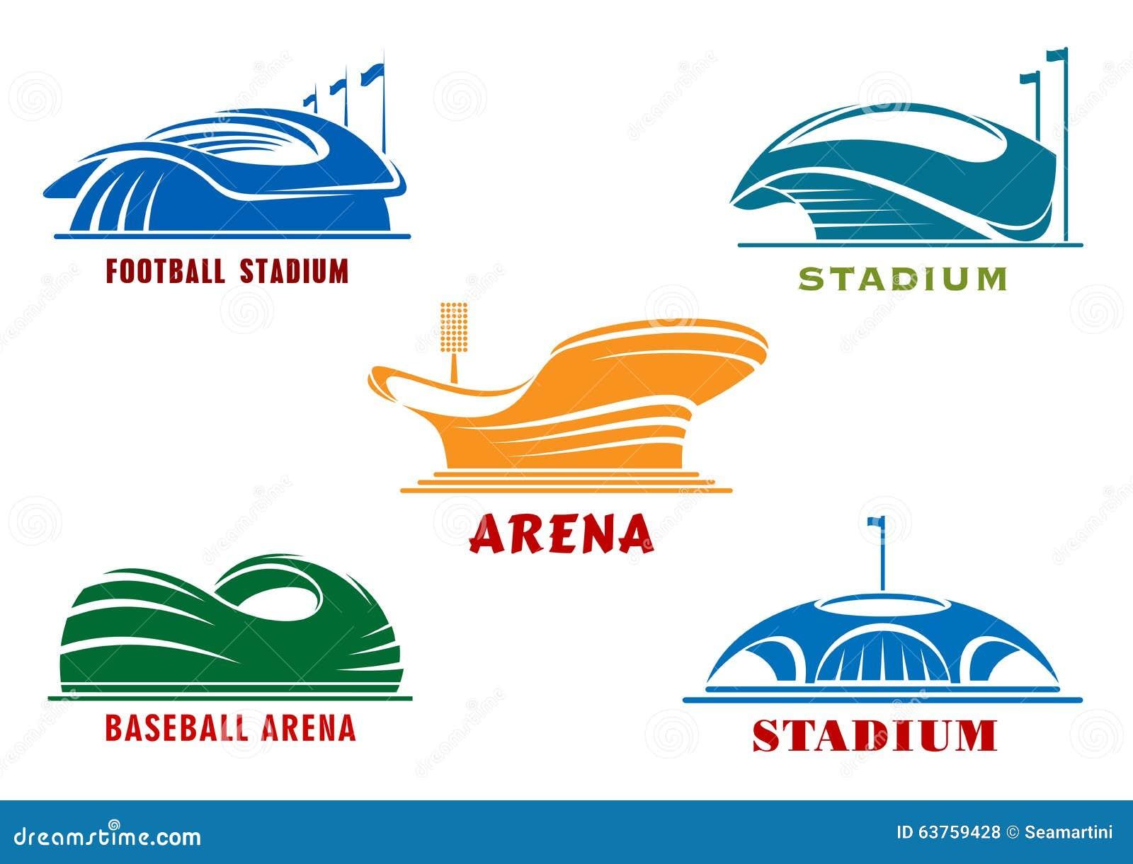 Ikonen Von Modernen Sportstadien Und -arenas Vektor Abbildung ...