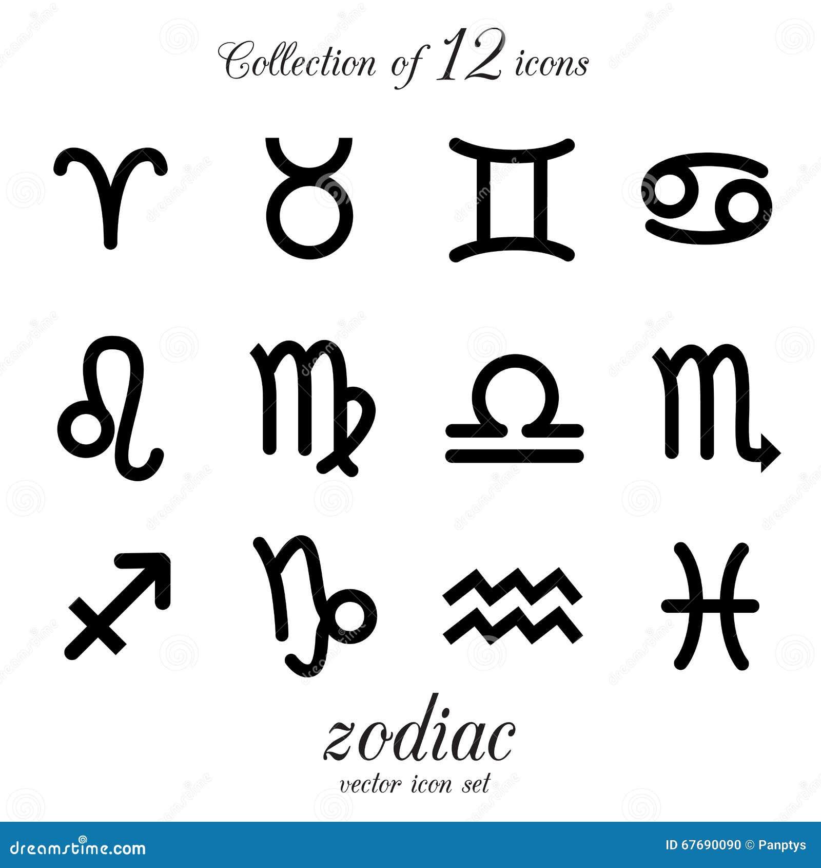 ikonen von verschiedenen zeichen des tierkreises sch tze krebs l we waage jungfrau. Black Bedroom Furniture Sets. Home Design Ideas