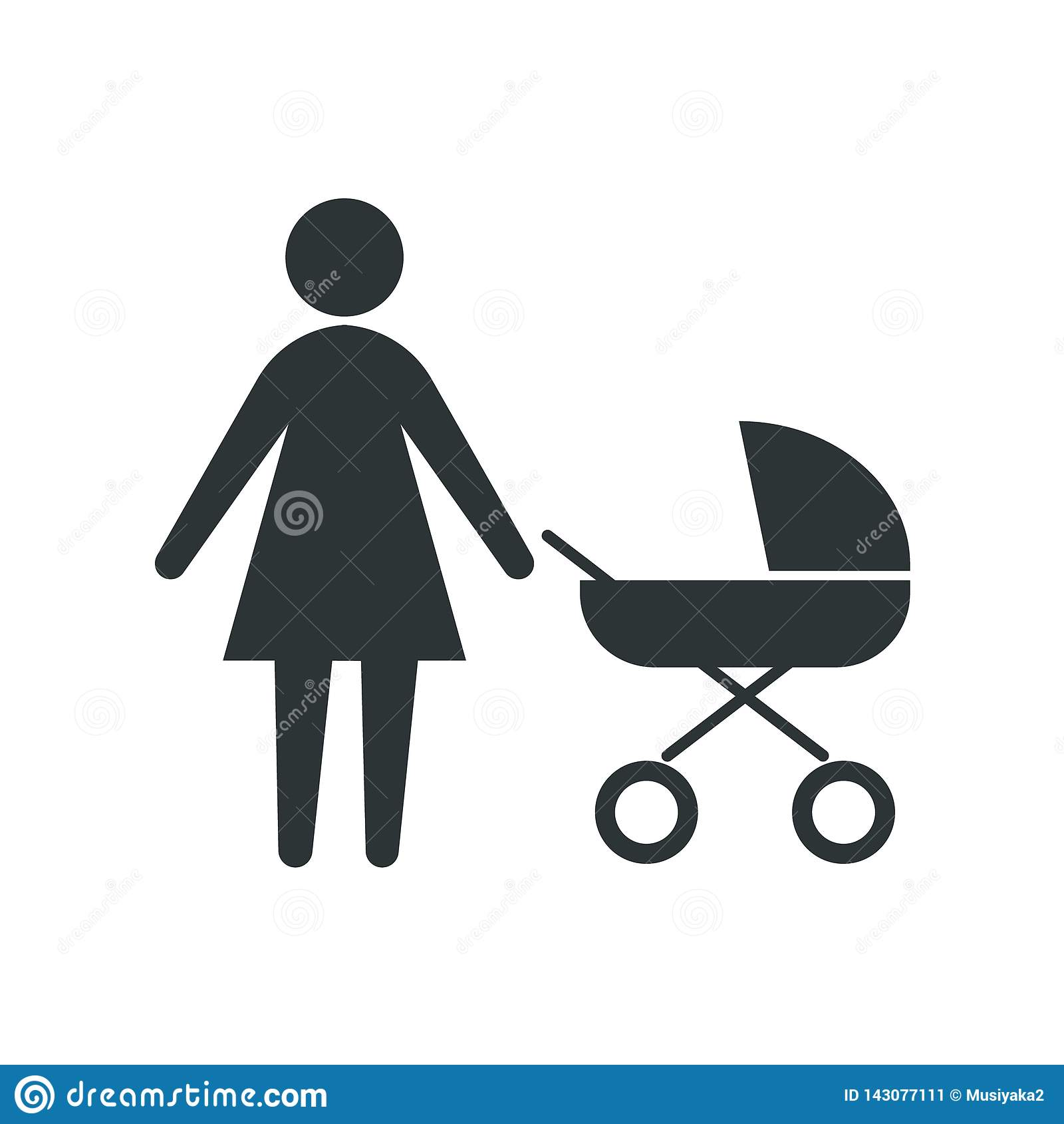 Ikonenmutter mit einem Spaziergänger Vektorillustration auf einem weißen Hintergrund