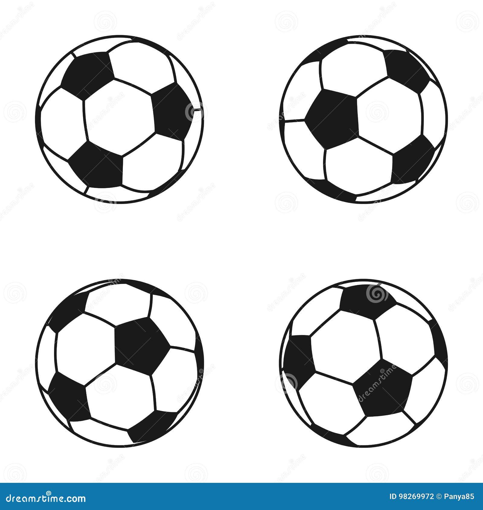 Ikonensatz Des Balls Fur Europaischen Fussball Fussballsymbol
