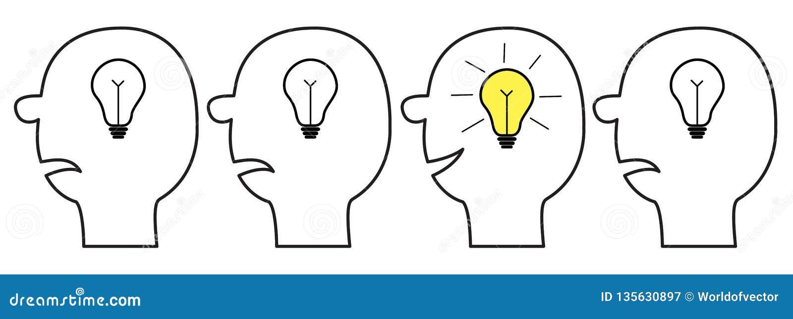 Ikonensatz des menschlichen Gesichtes Schwarze Linie Schattenbild Glühlampe der Idee im Kopf innerhalb des Gehirns Denkender Proz