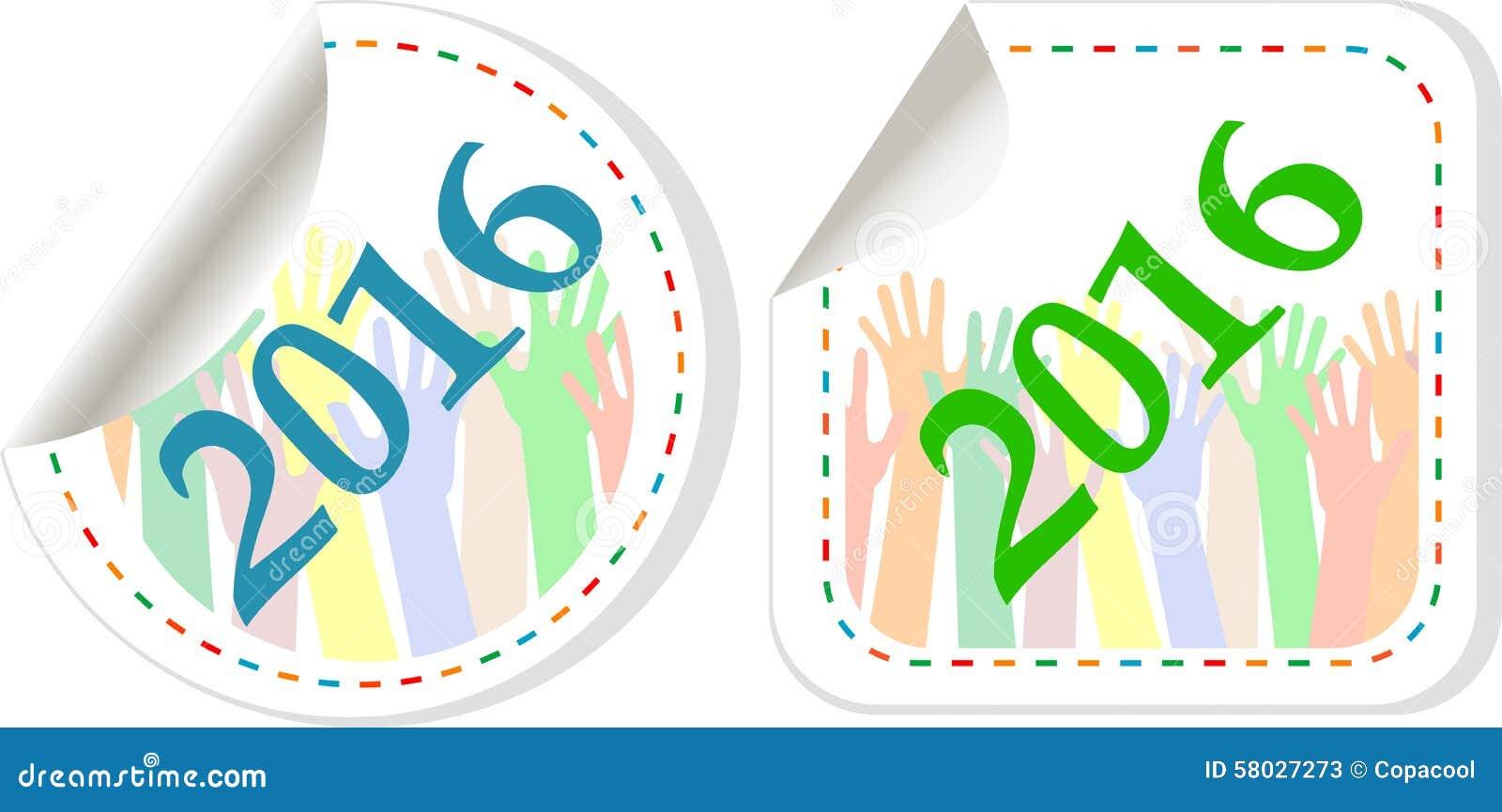 Ikonensatz 2016 Des Neuen Jahres Neue Jahre Symbolvorlage Stockbild ...