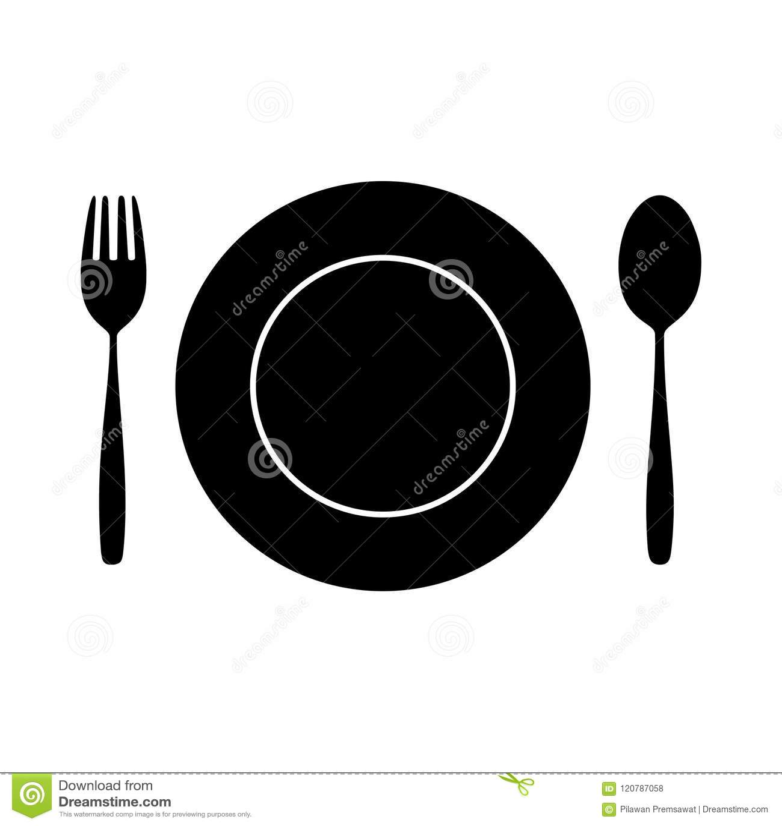 Ikony łyżka, rozwidlenie I nóż na Łomotać stół dla karmowej sylwetki, odizolowywaliśmy tło