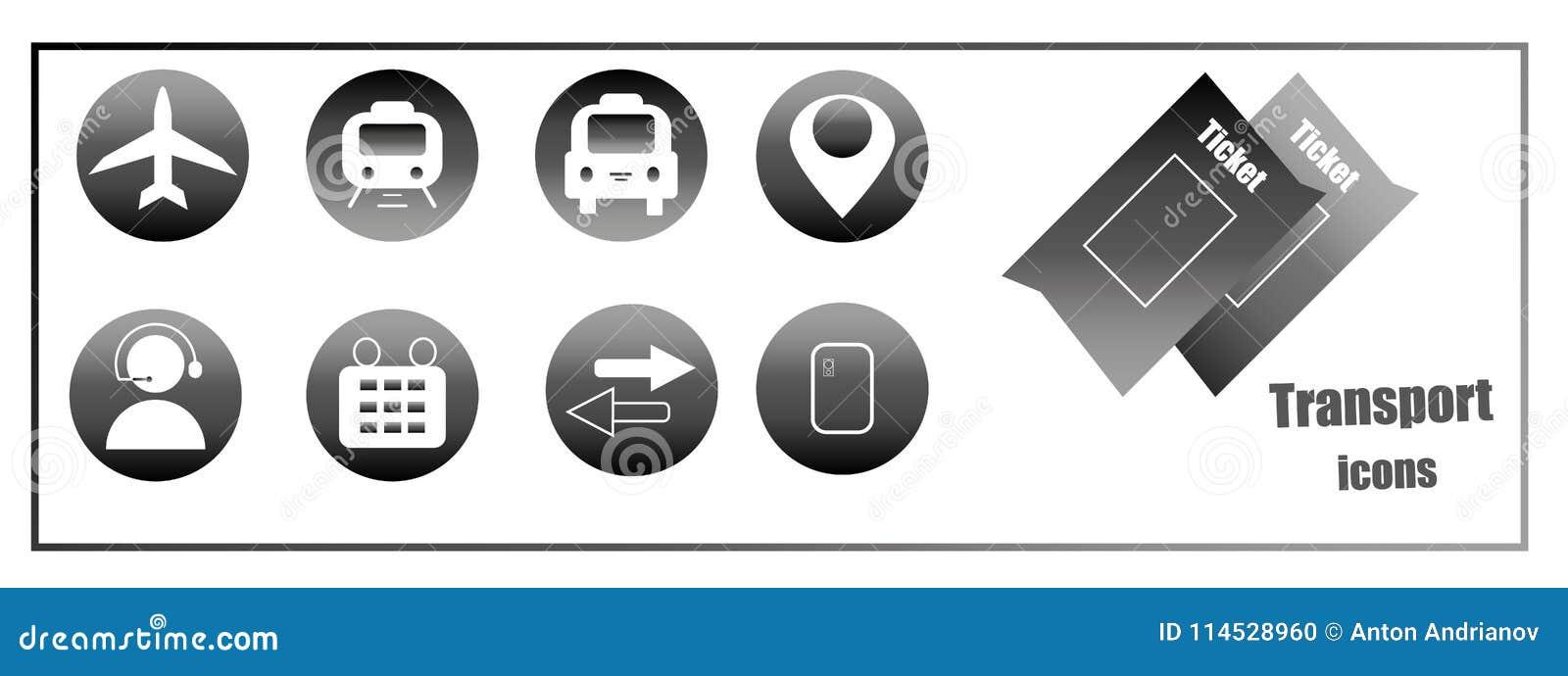 Ikony dla kupować online bilety dla transportu Strona internetowa guziki