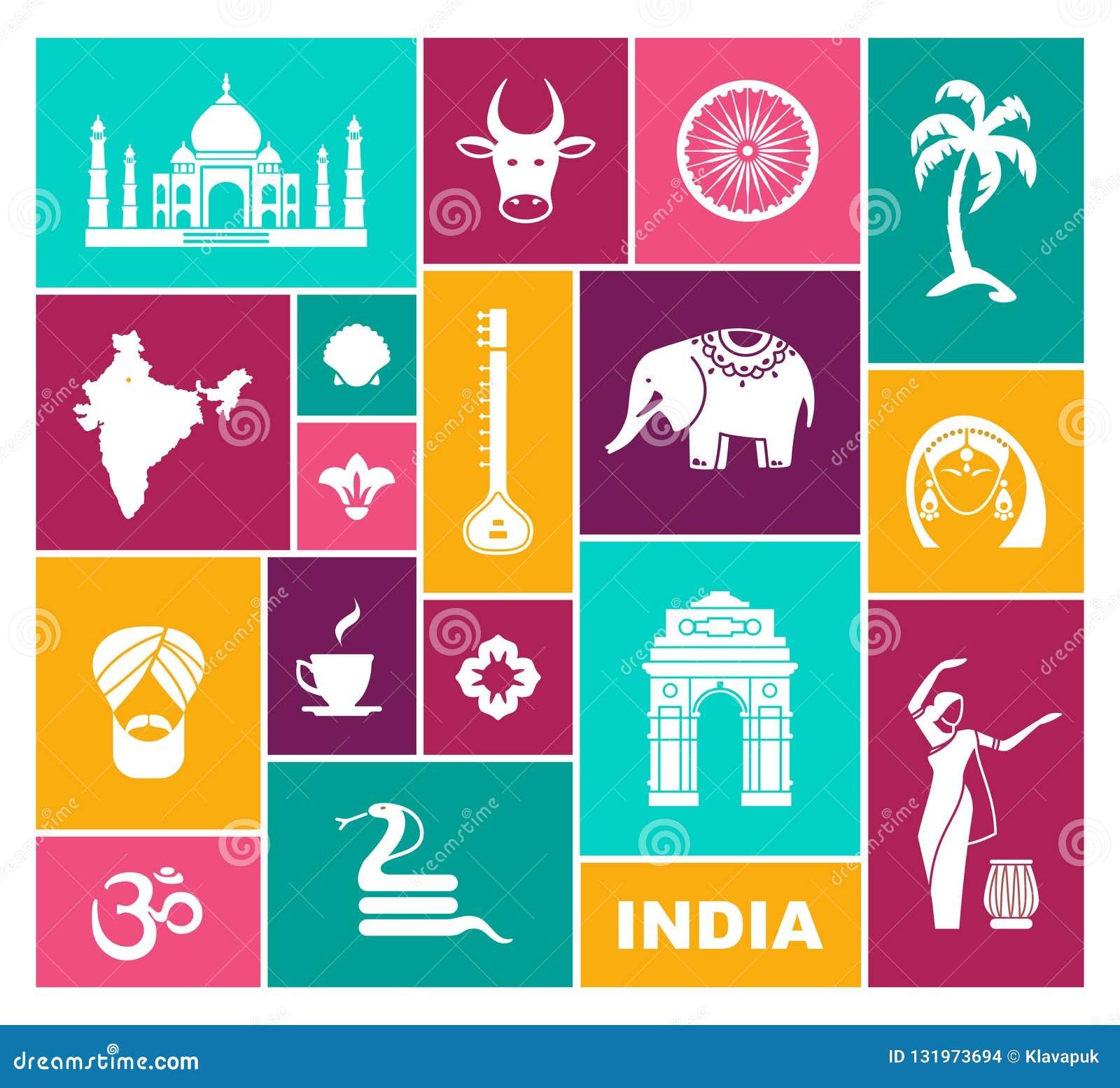 Ikony India Płaska wektorowa ikona z tradycyjnymi symbolami