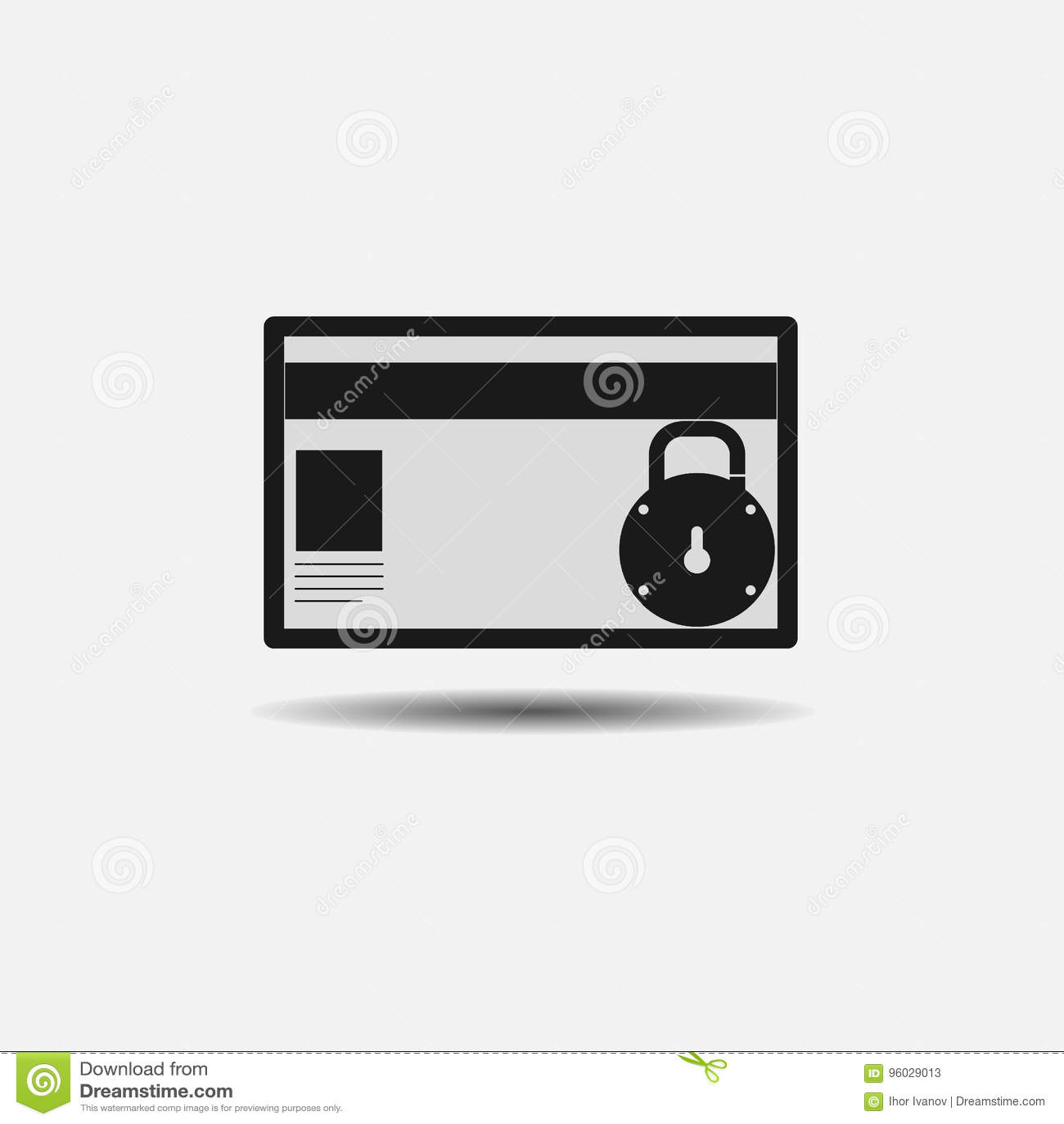 Ikony kredytowej karty ochrona, blokująca