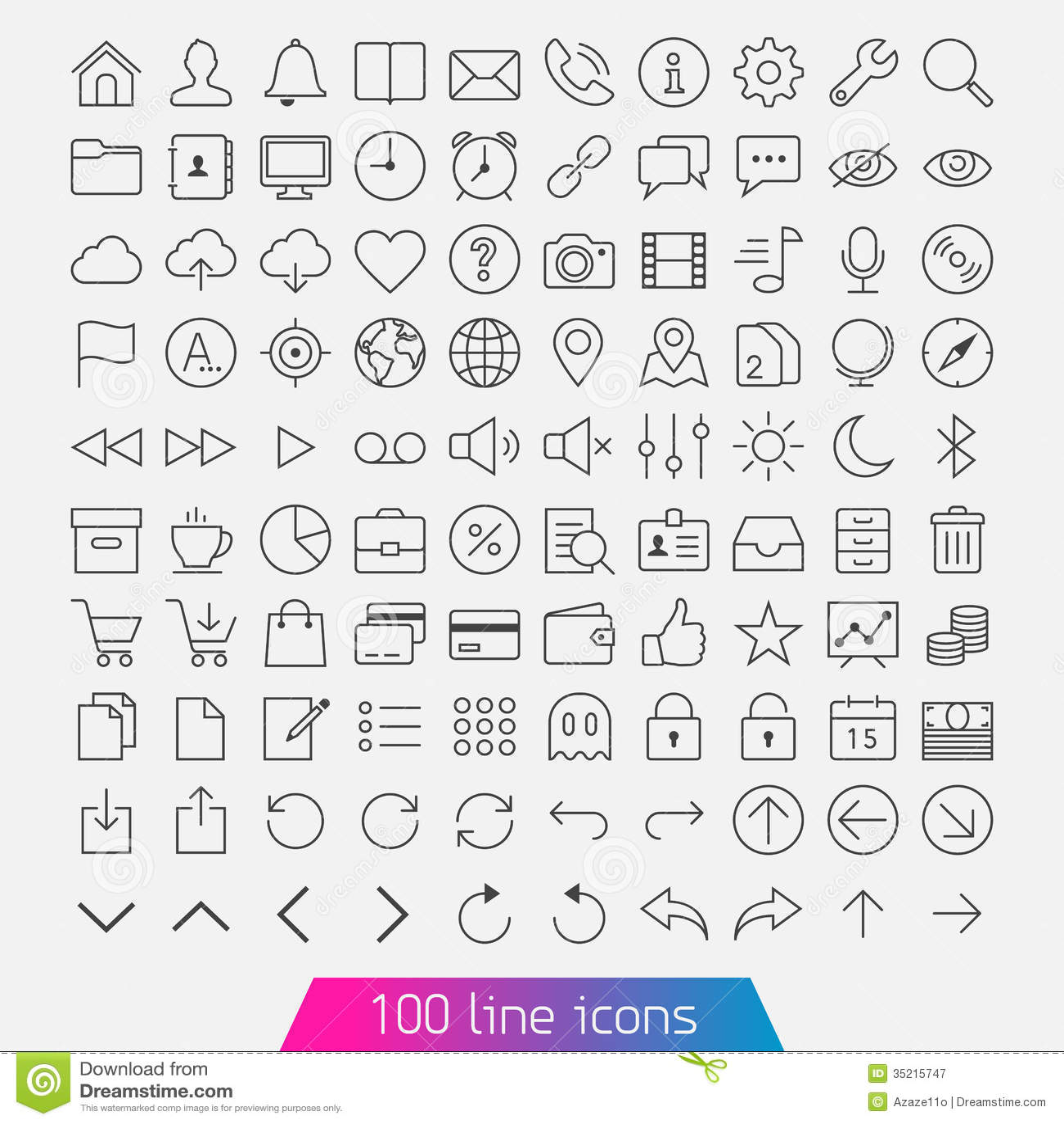 100 ikony kreskowy set