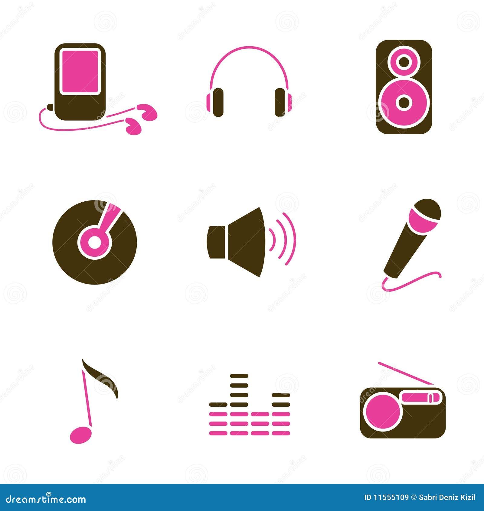 Ikony muzyczny przedmiota setu wektor