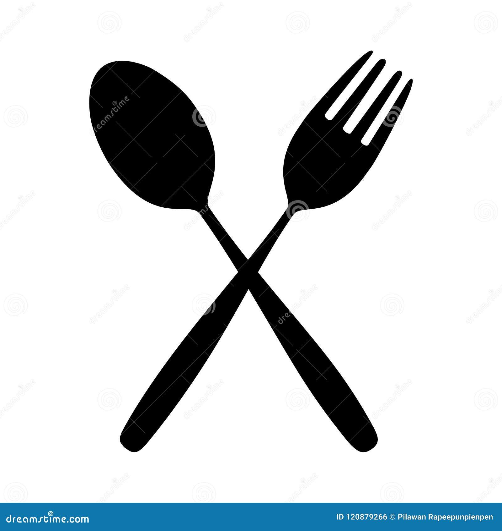 Ikony rozwidlenie na Łomotać stół dla karmowej sylwetki i łyżka odizolowywaliśmy tło