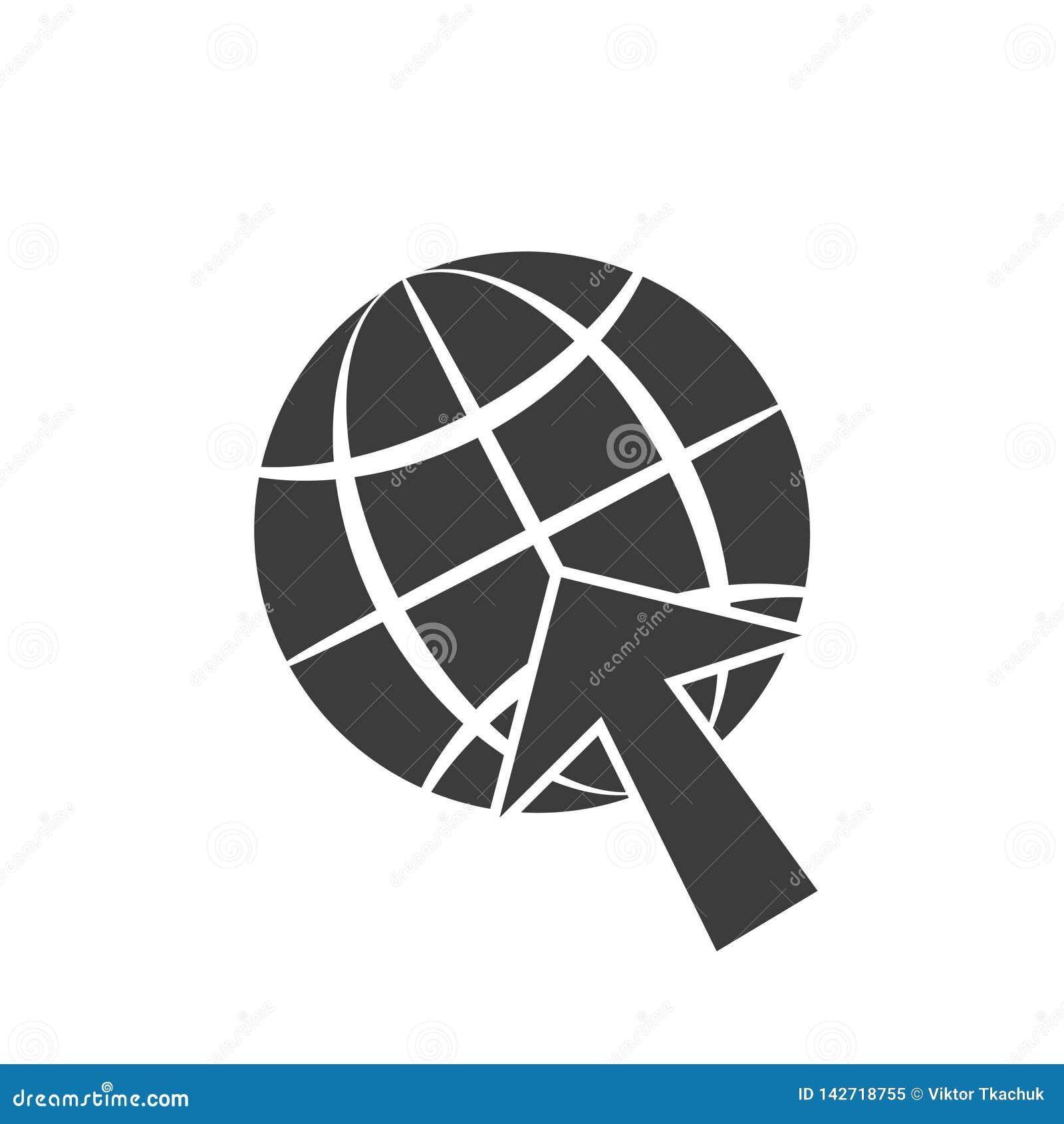 Ikony symbolu, kuli ziemskiej i strzały kursoru szara ilustracja, odizolowywa na białym tle