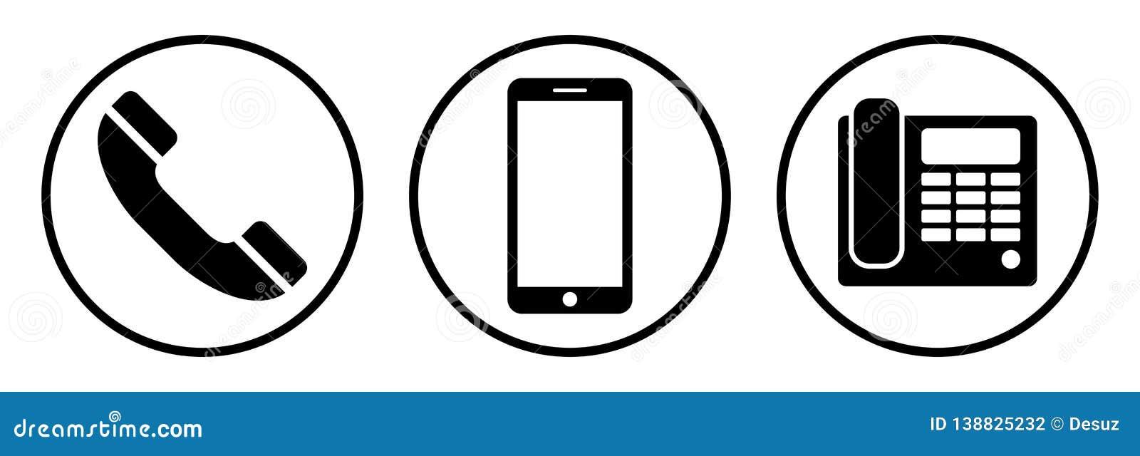 Ikony telefonu setu majchery trzy Odosobneni telefoniczni simbols na białym tle