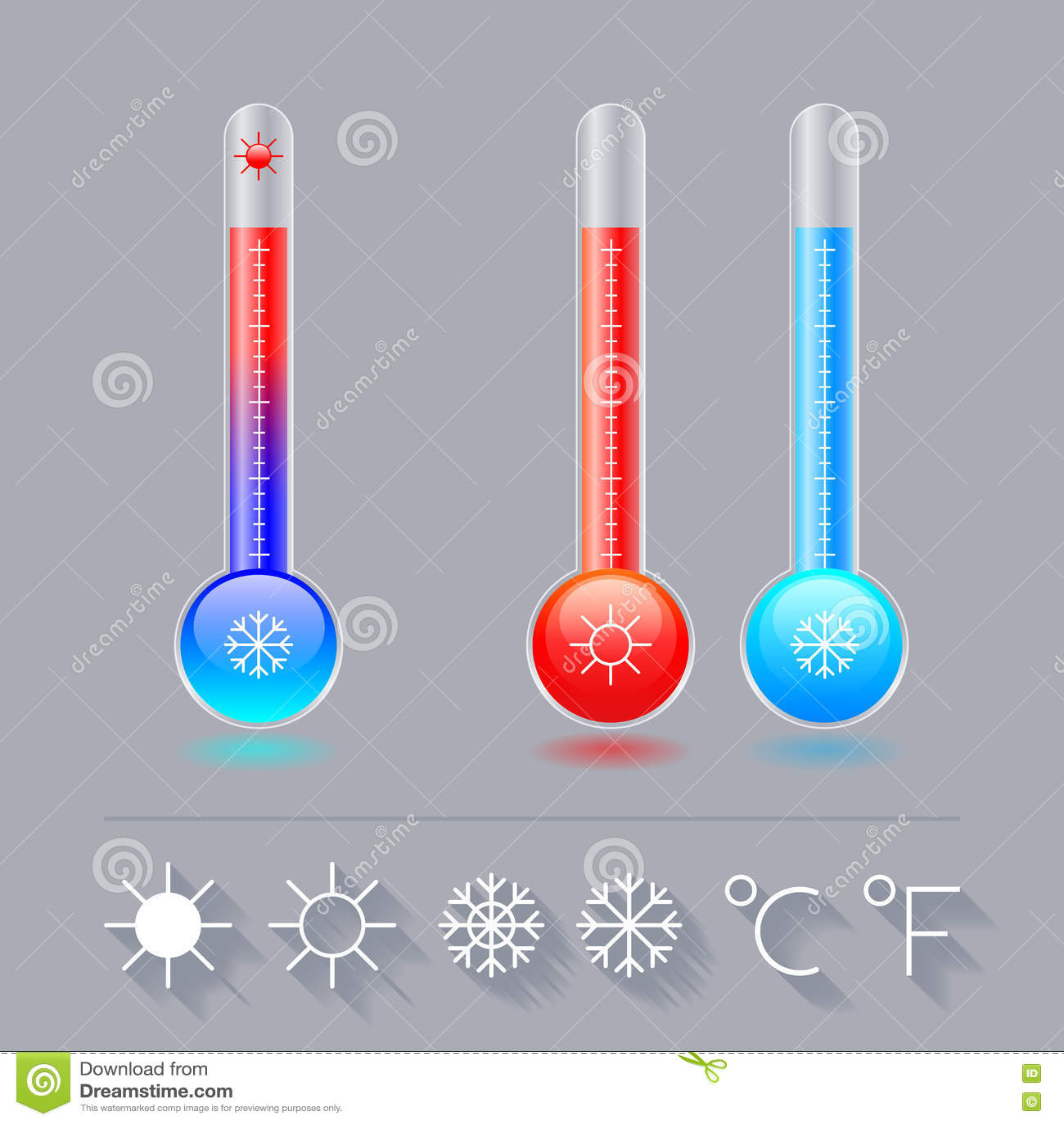 Ikony termometru set, zimno, gorący, i słońce płatek śniegu, Celsius i Fahrenheit,