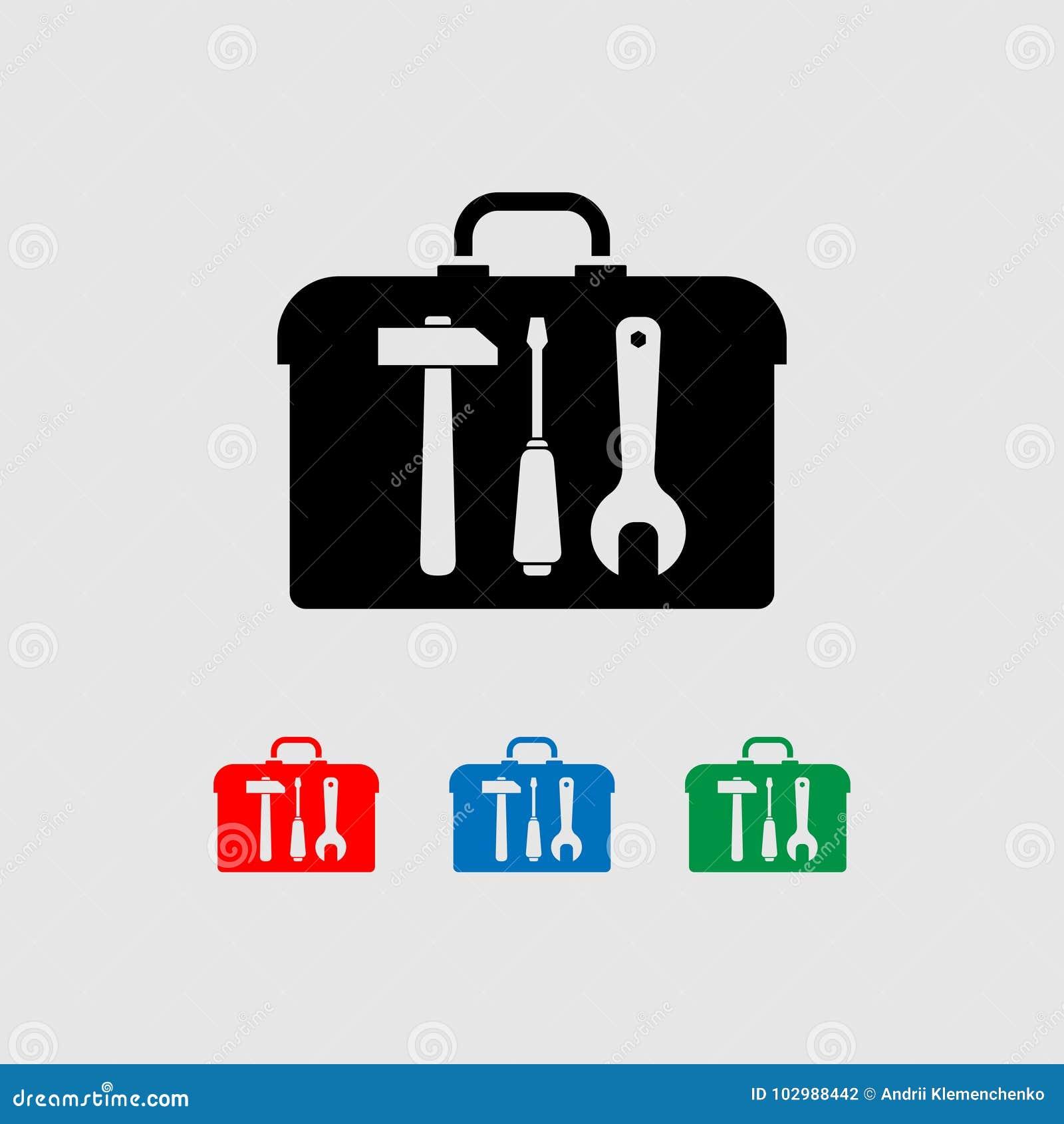 Ikony toolbox z narzędziami młoty, śrubokręt, wyrwanie