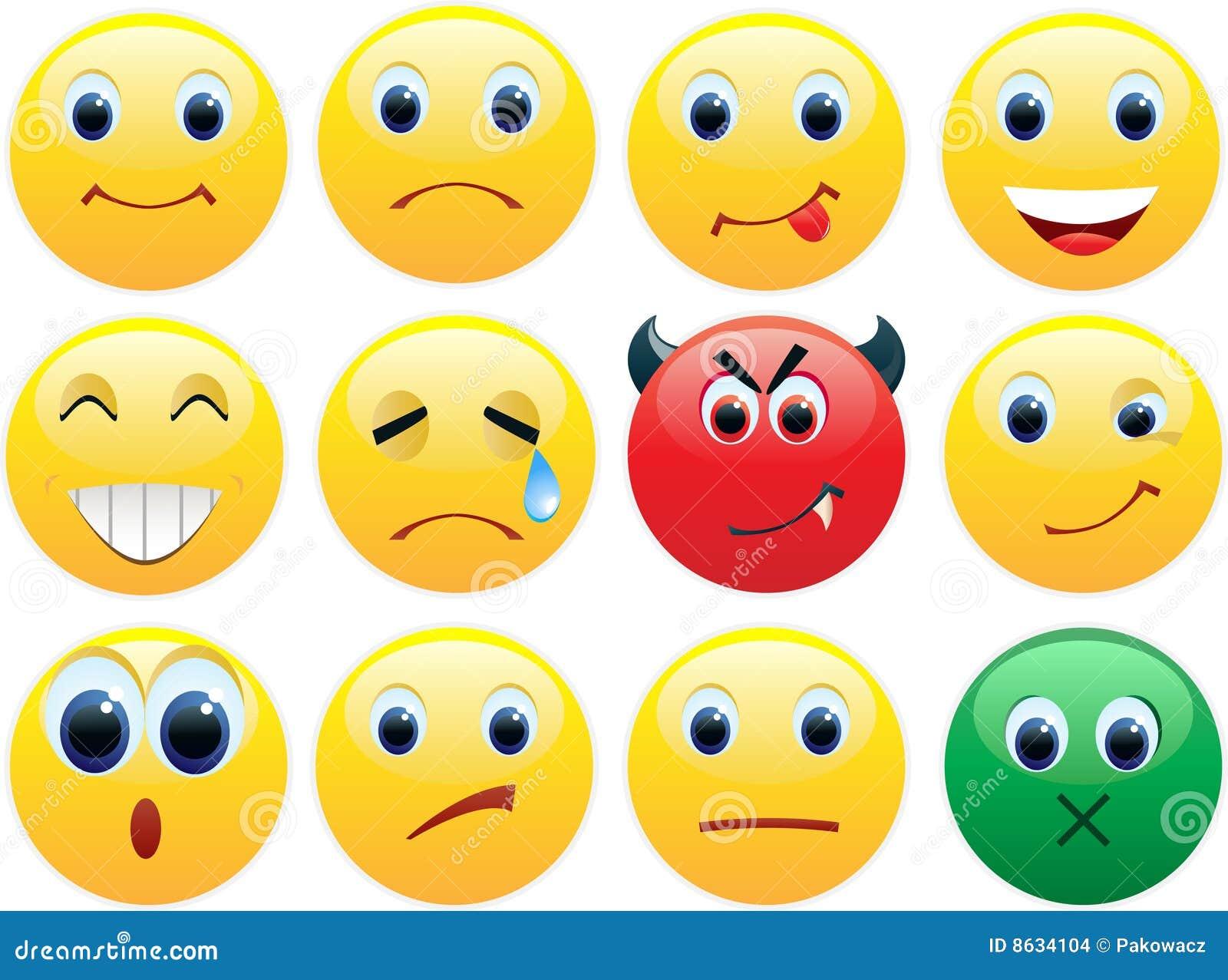 Ikony ustawiają błyszczących uśmiechy