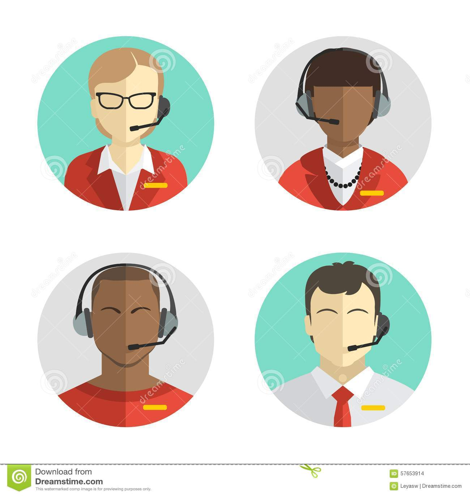 Ikony ustawiają Męskiego i żeńscy centrów telefonicznych avatars w mieszkaniu projektują z słuchawki, konceptualną komunikacja
