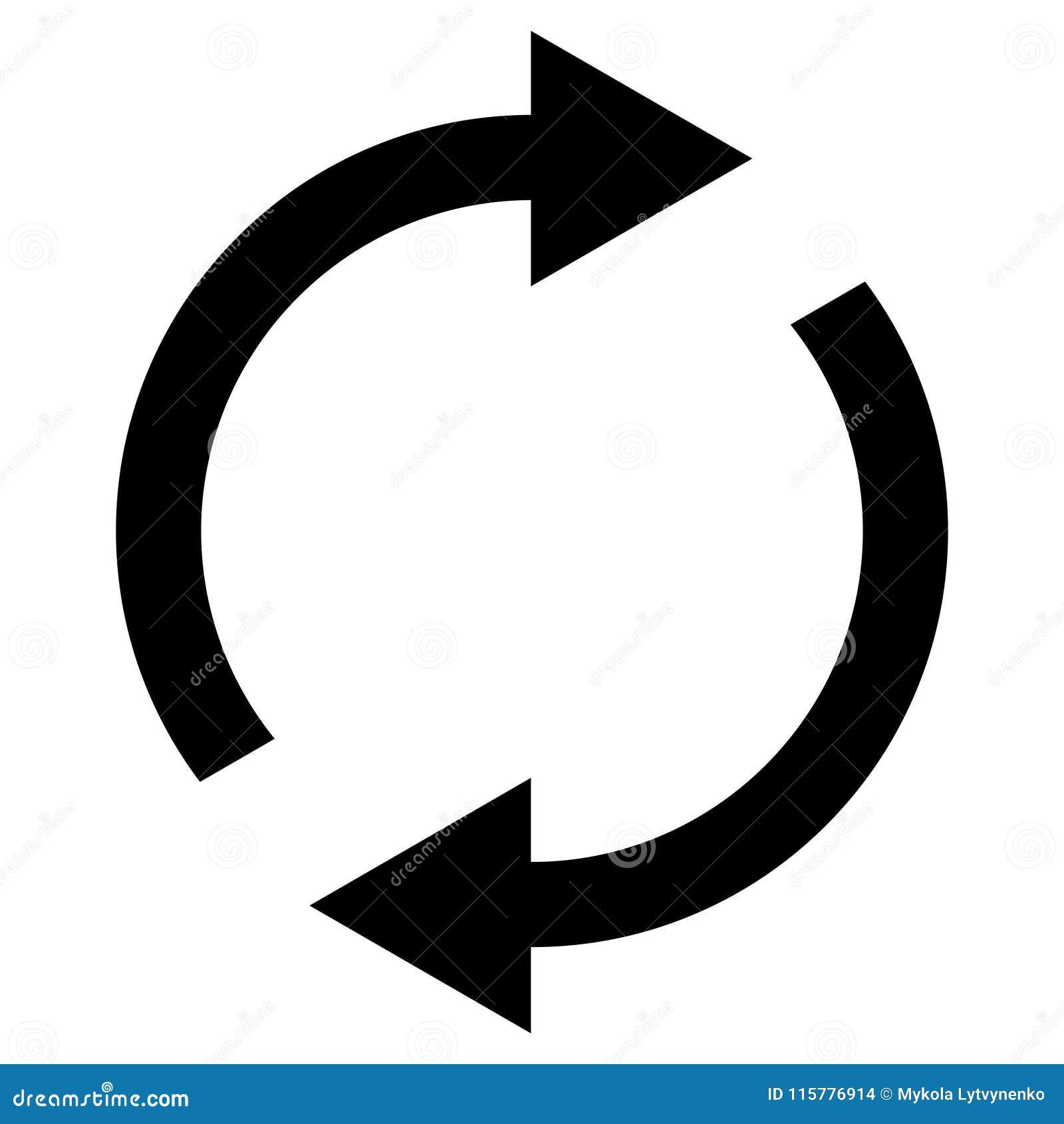 Ikony zamiana wznawia, wirujący strzała w okręgu, wektorowa symbol synchronizacja, odnawialna produkt wymiana, zmiana odnawia