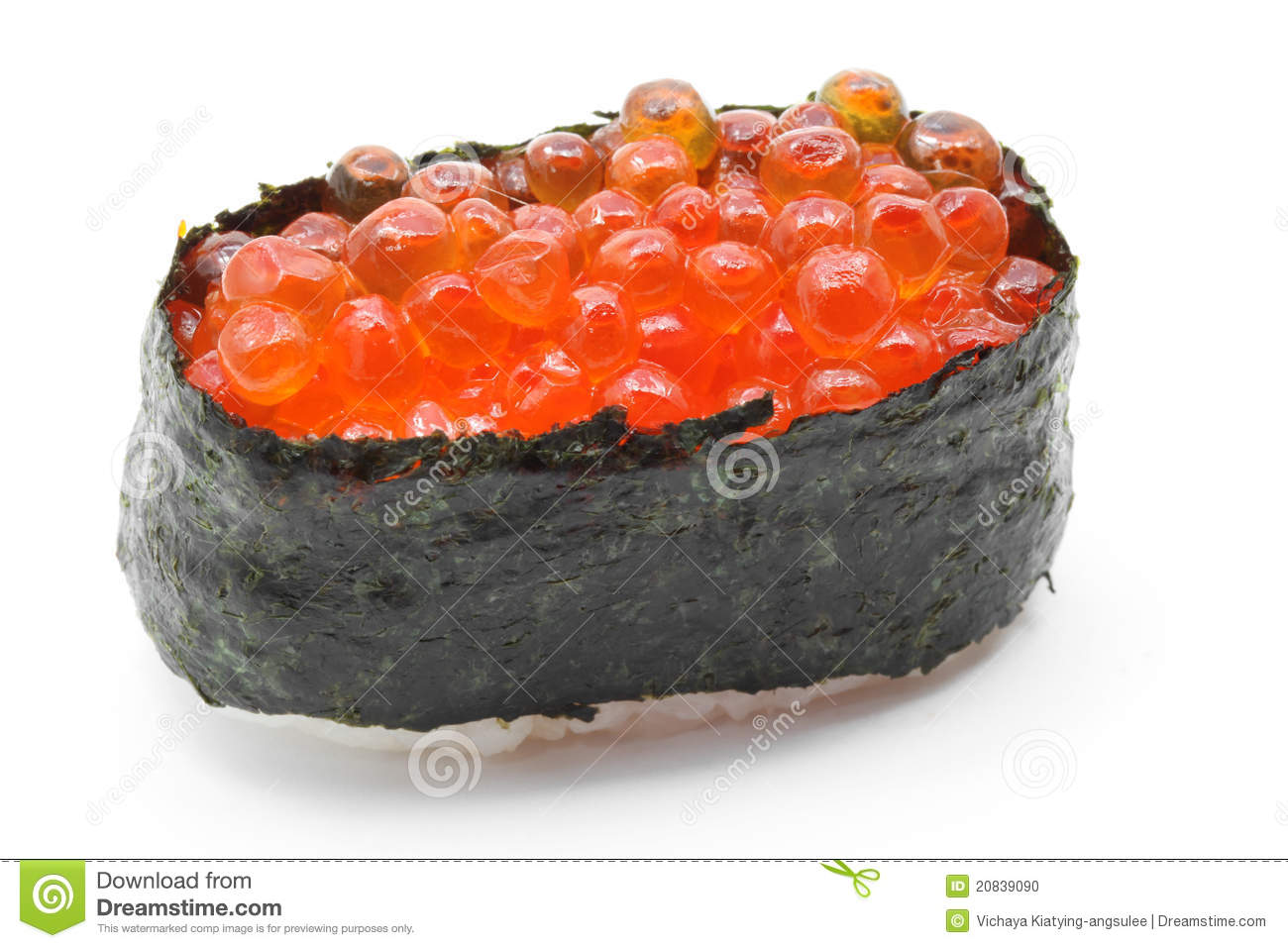 Ikura salmon egg roll sushi stock photo image 20839090 for Fish eggs on sushi