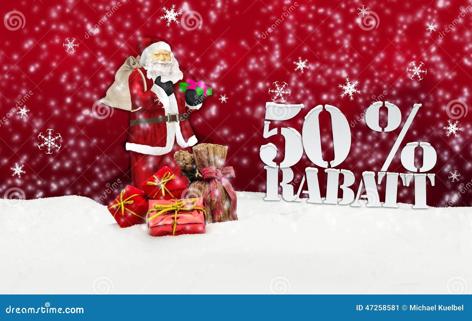 Babbo Natale 50.Il Babbo Natale Buon Natale Uno Sconto Di 50 Per Cento Immagine