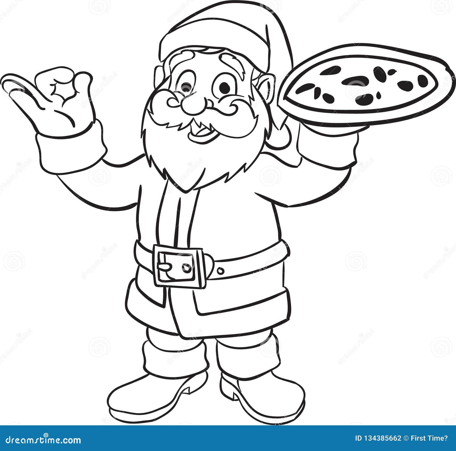 Il Babbo Natale Che Da Il Libro Da Colorare Della Pizza