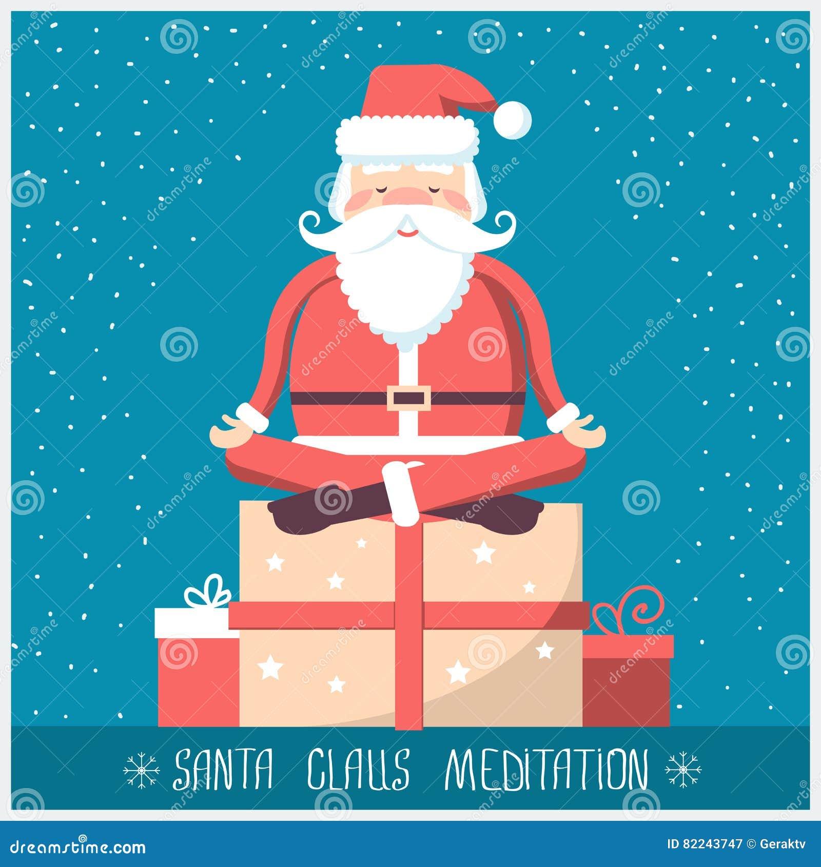 Auguri Di Natale Yoga.Il Babbo Natale Che Fa Meditazione Di Yoga E Che Si Siede