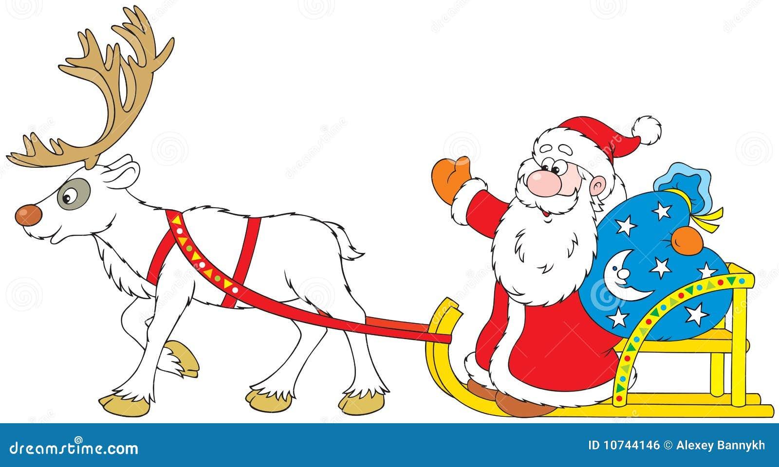 Renne Babbo Natale.Il Babbo Natale Che Guida Nella Slitta Con La Renna Illustrazione