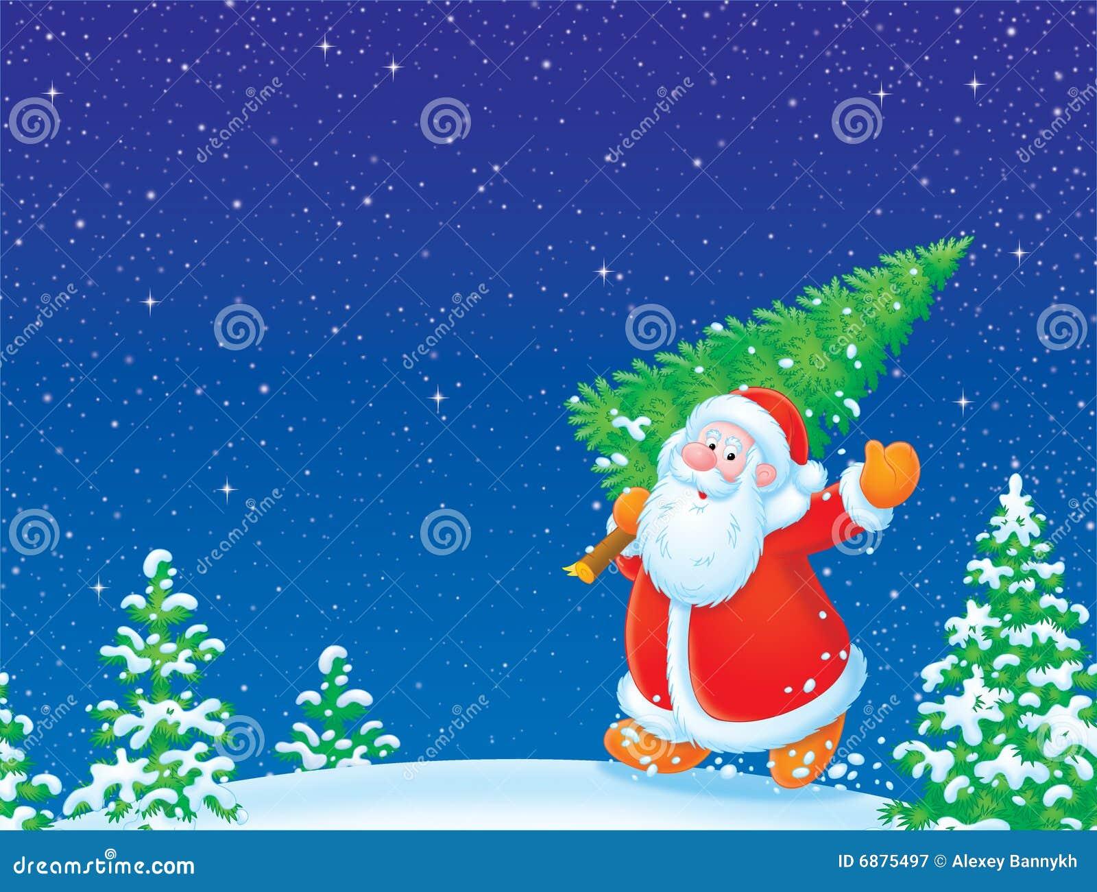 Albero Di Natale E Babbo Natale.Il Babbo Natale Con L Albero Di Natale Illustrazione Di Stock Illustrazione Di Claus Mano 6875497